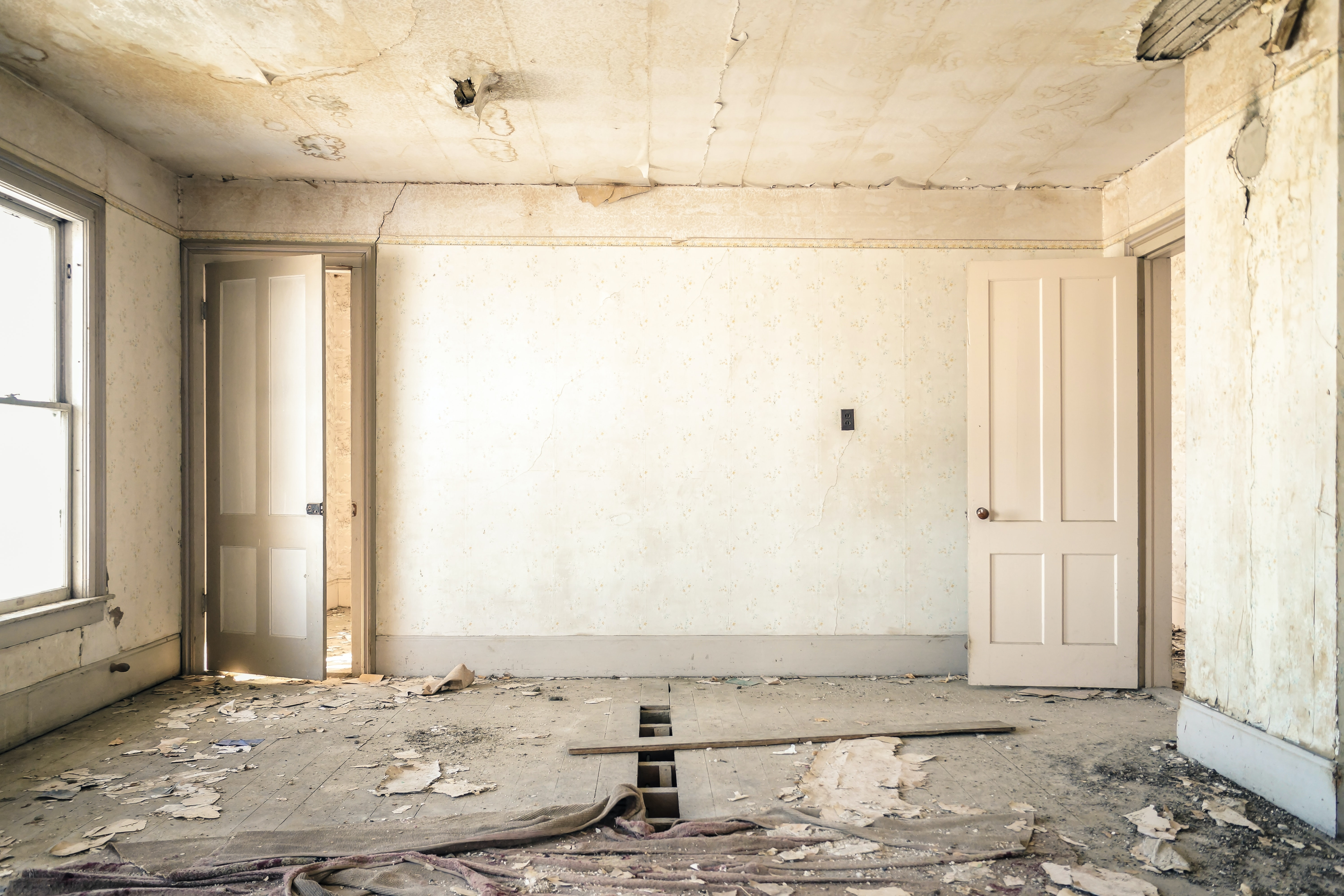 A dilapidated room in an abandoned house