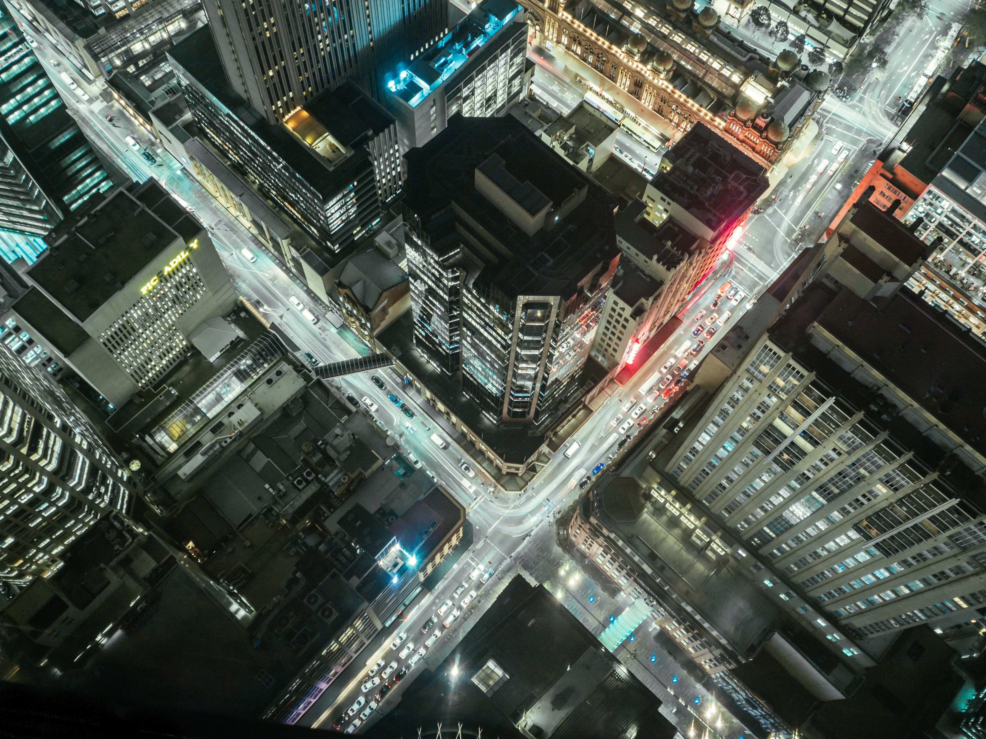 A high shot of downtown Sydney at night
