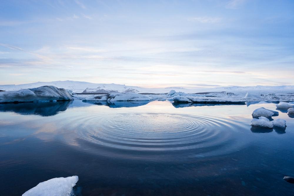 body of water between icebergs