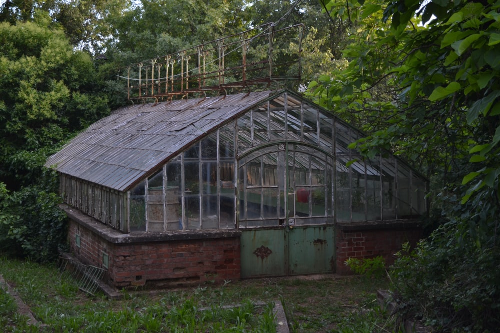 A garden building surrounded by trees.