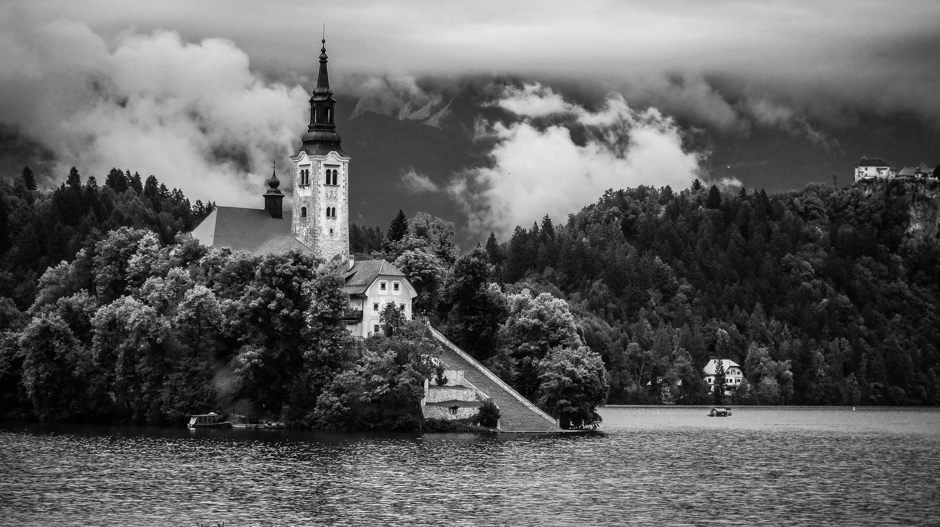 graycale photo of castle near body of water surrounded by trees