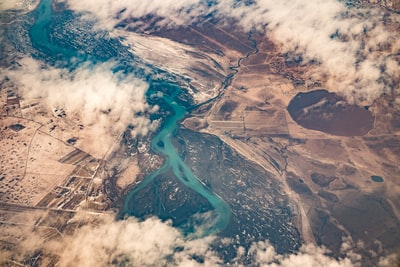 aerial photography of river aerial zoom background