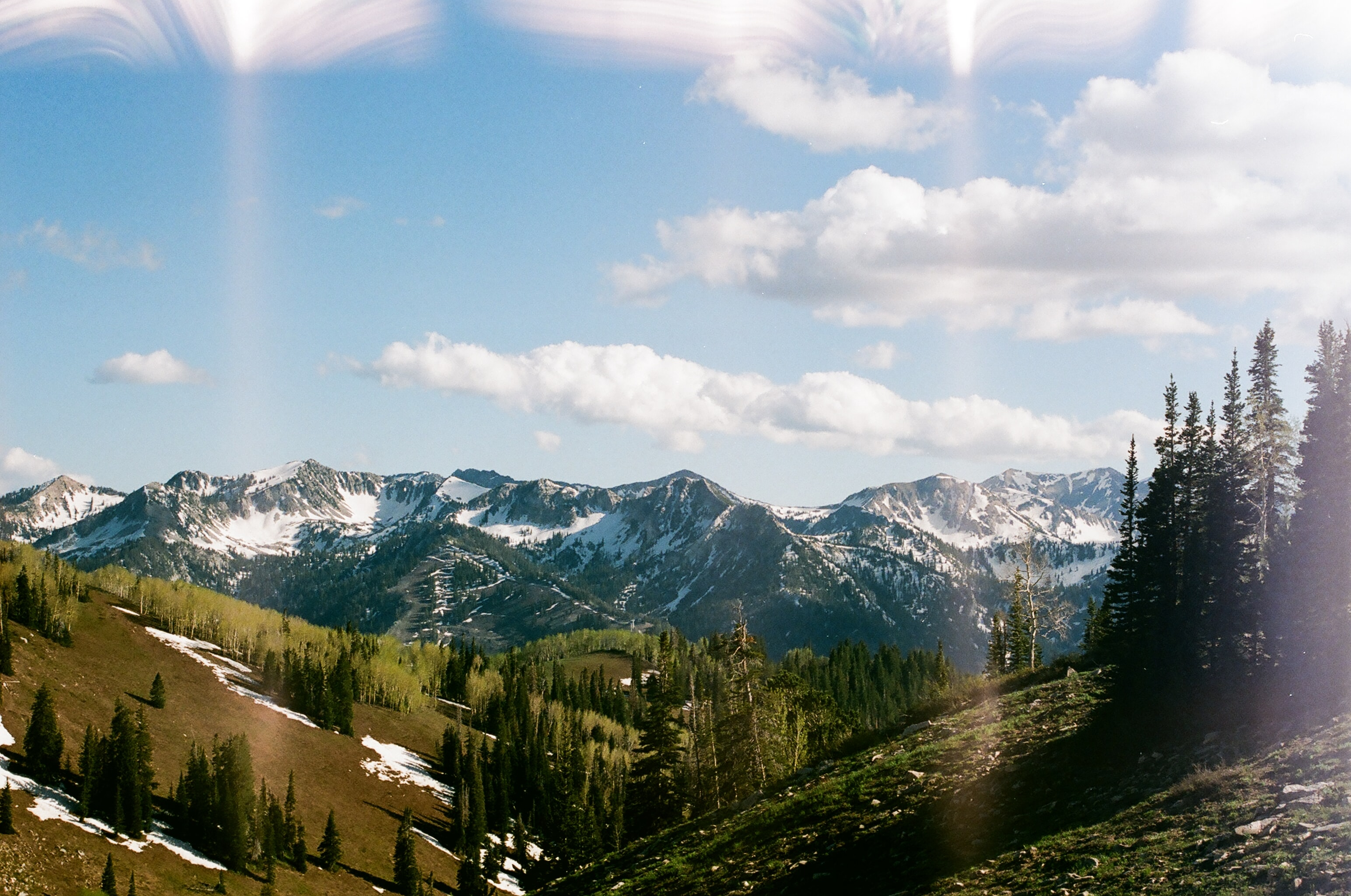 A panorama of a wooded valley with snow-capped mountains in the back