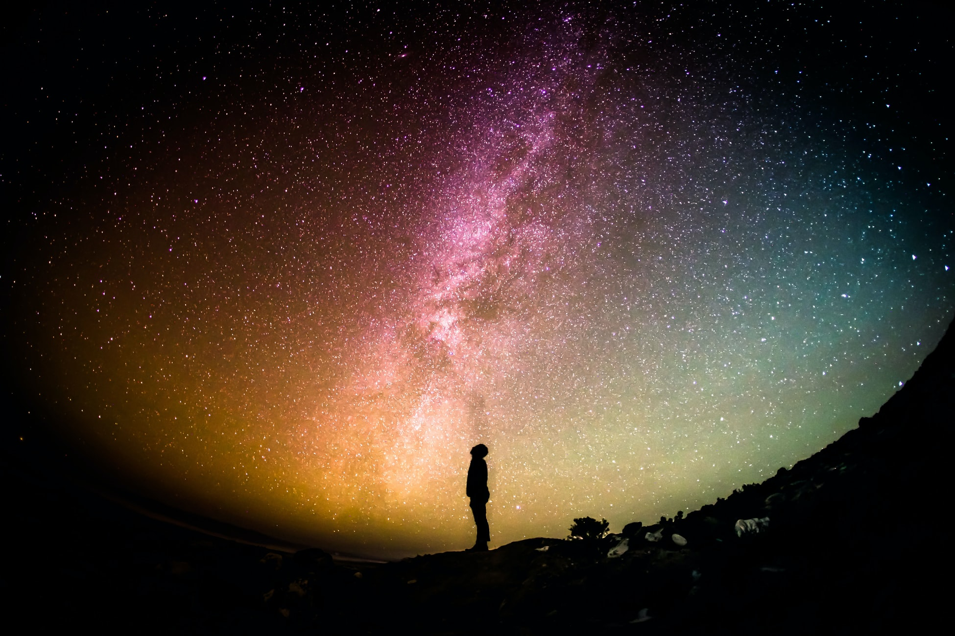 A photo of a long figure silhouetted against a star-filled sky. The sky changes color from yellow to pink to blue. Photo by Greg Rakozy via Unsplash