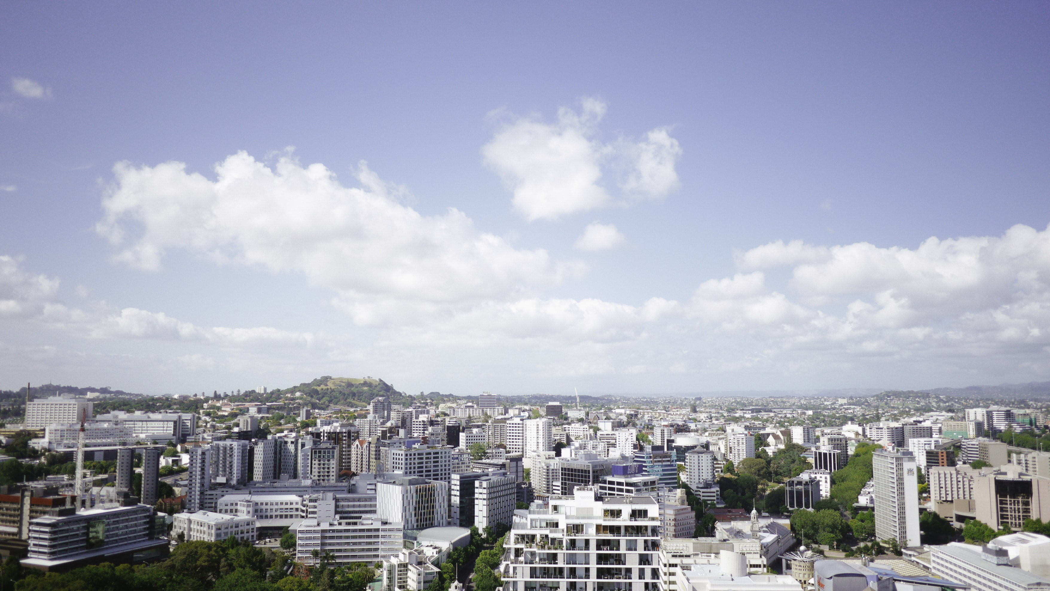 A panorama with office and residential buildings in a vast metropolis