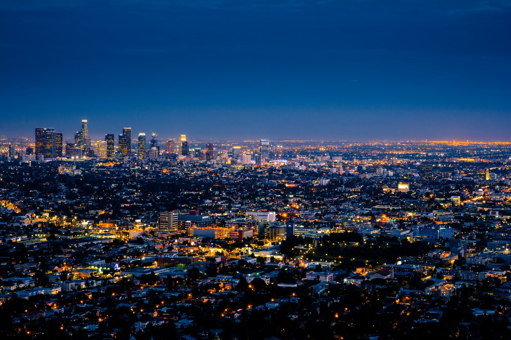 aerial photography of cityscape at night