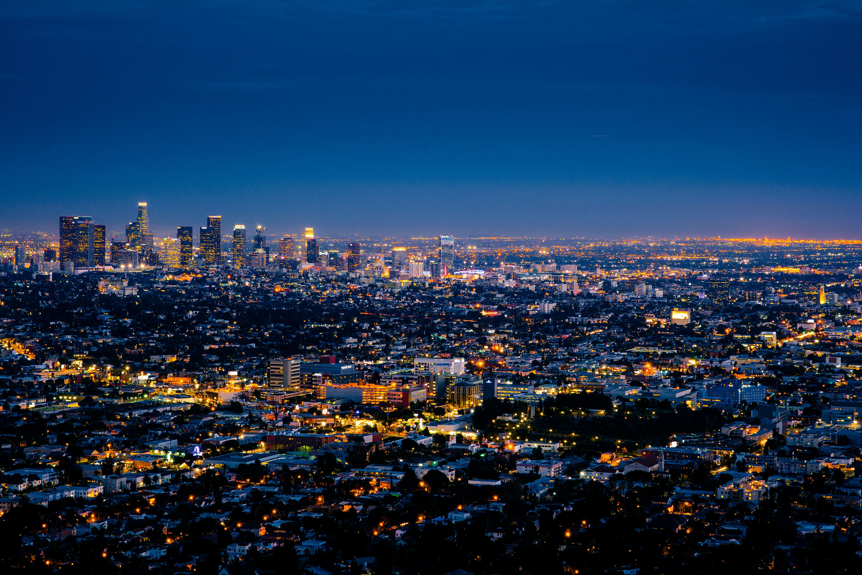A drone shot overlooking Los Angeles from the Griffith Observatory