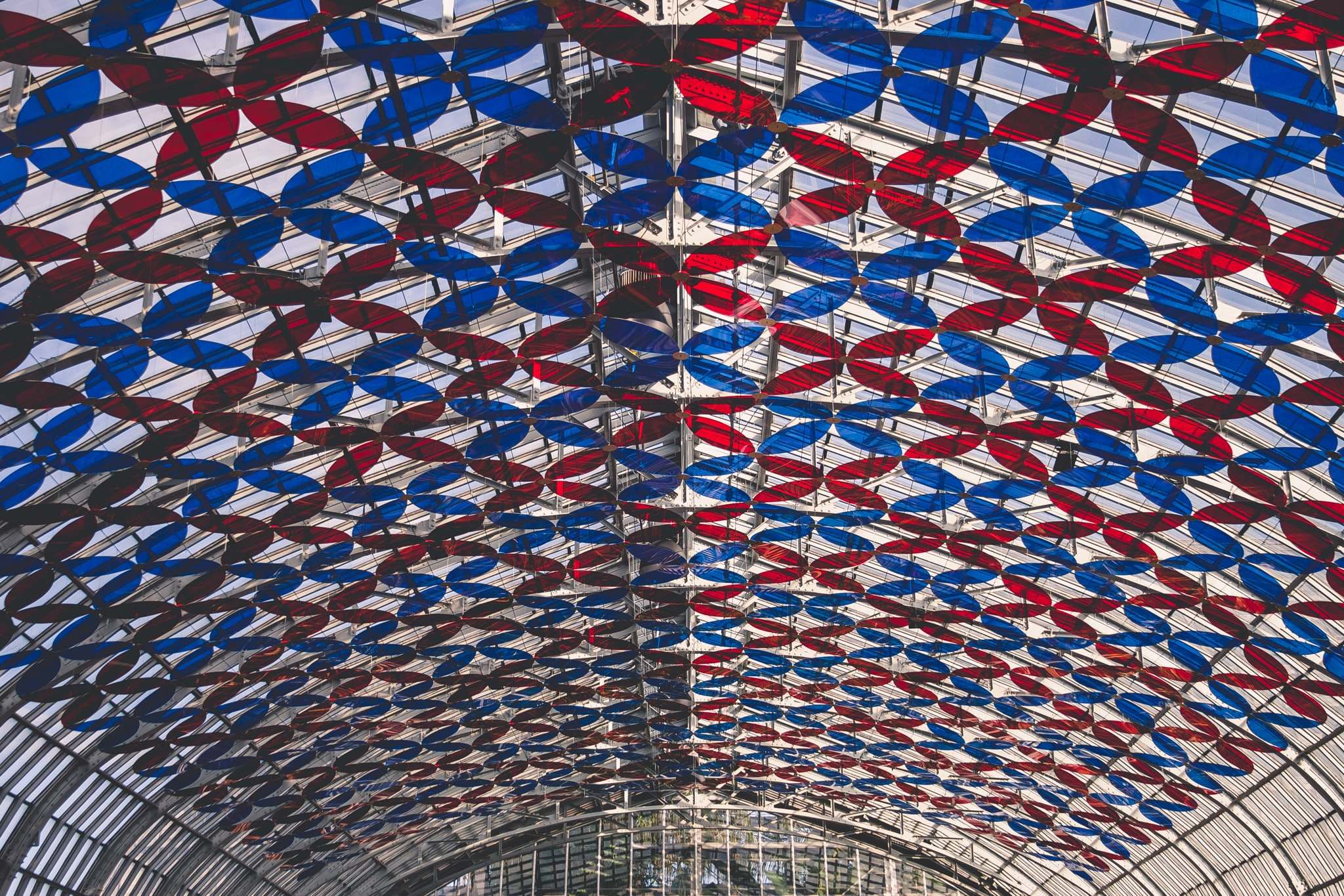 red and blue glass ceiling