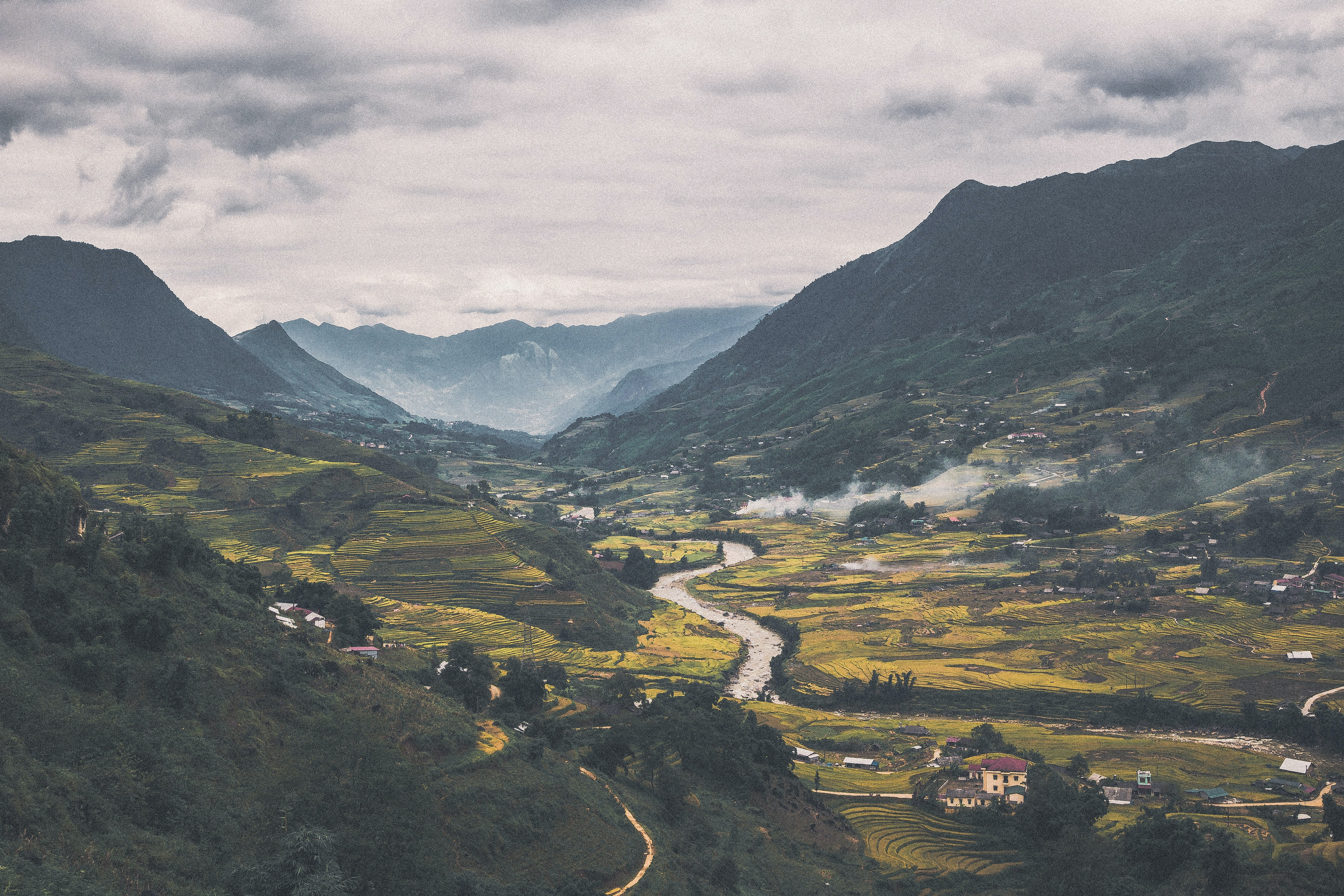 A magnificent mountain village on a small river in Vietnam