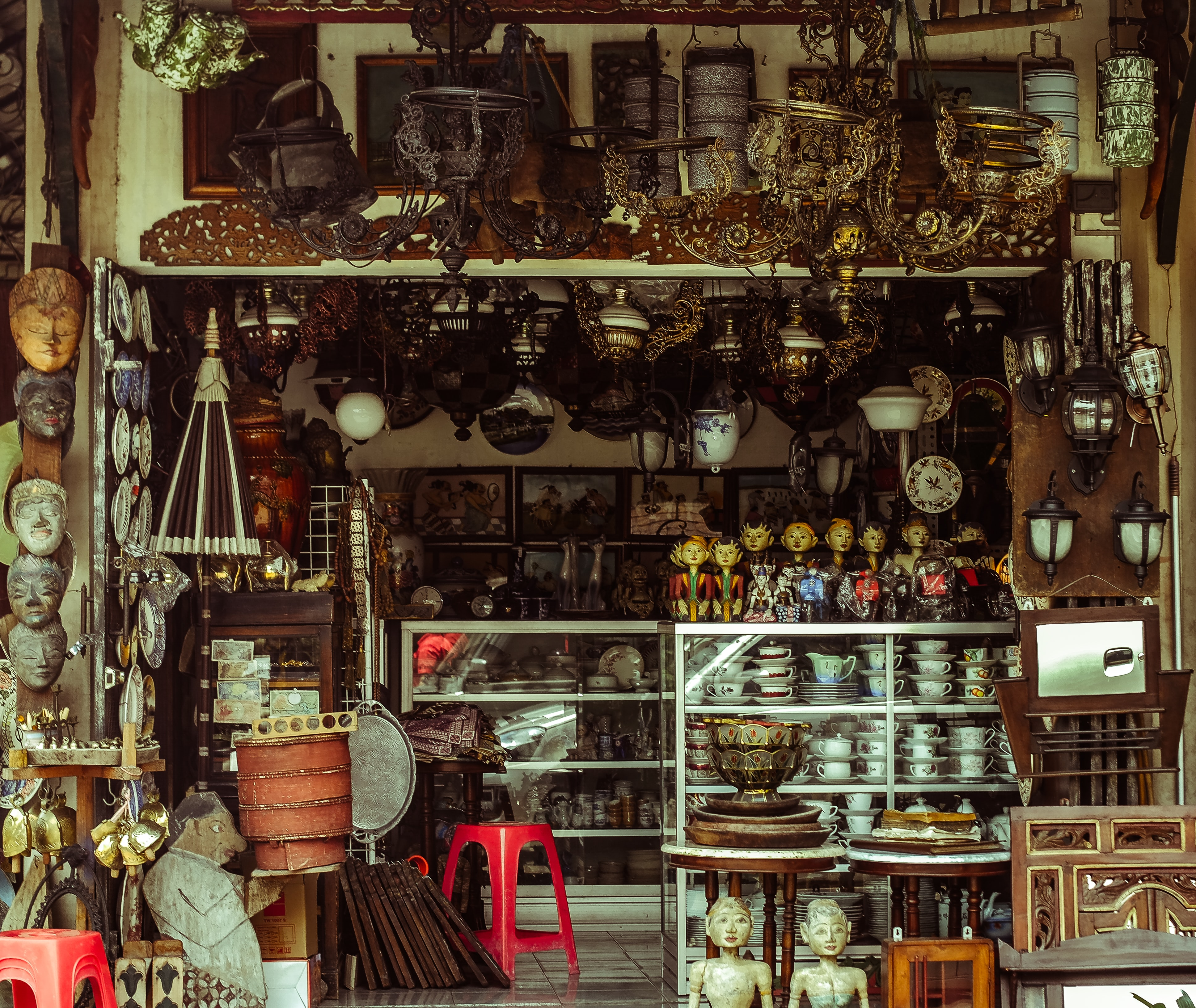 assorted antique store display