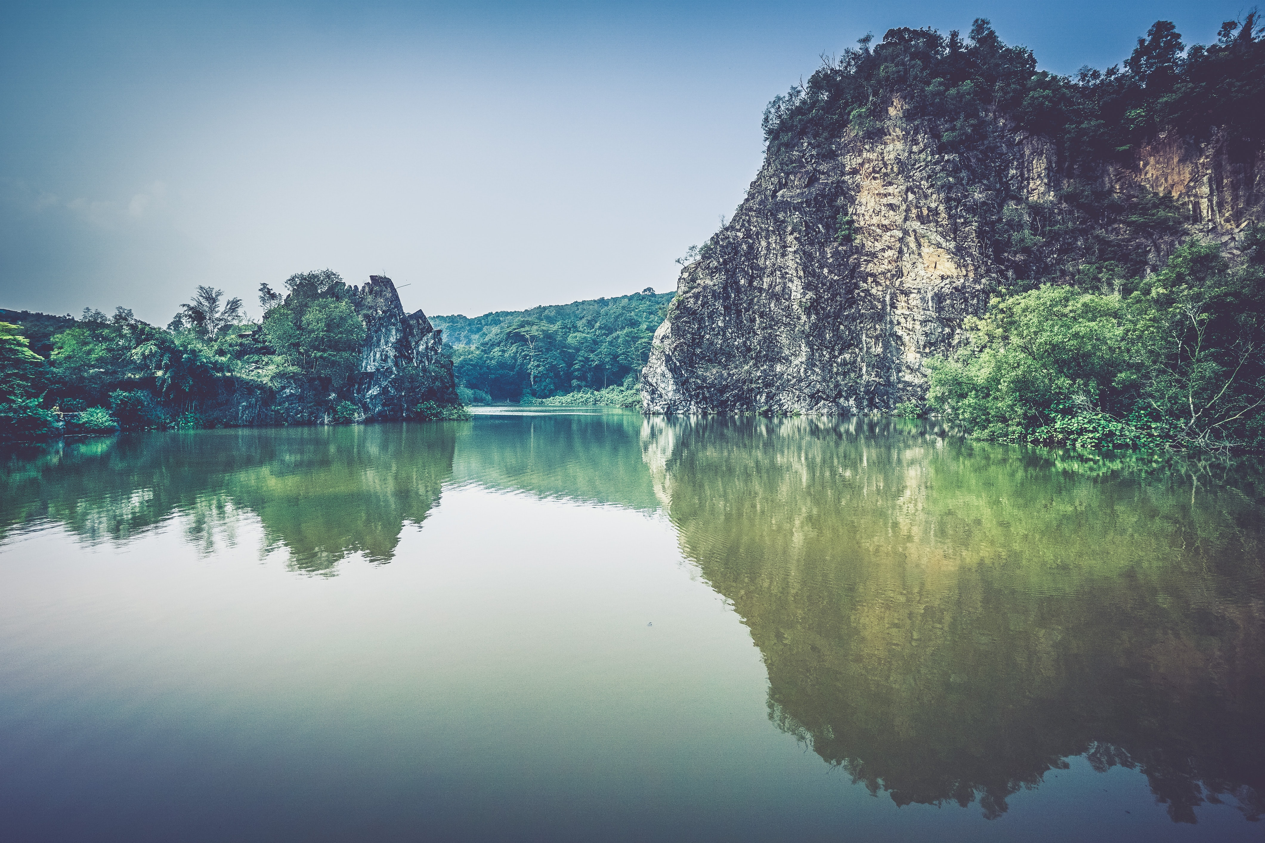 gray rock formation with plants near body of water