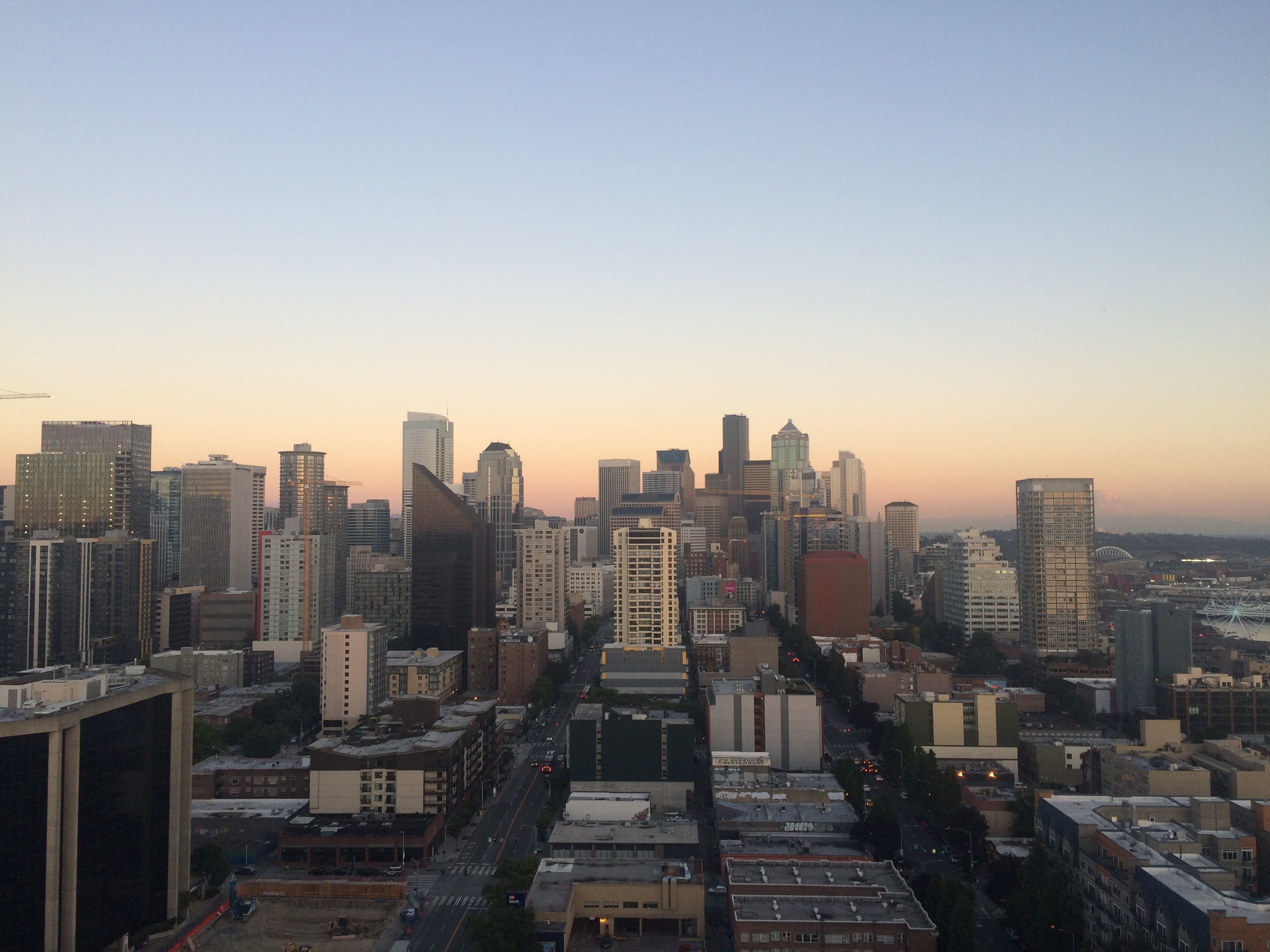 The skyline of downtown Seattle during sunset