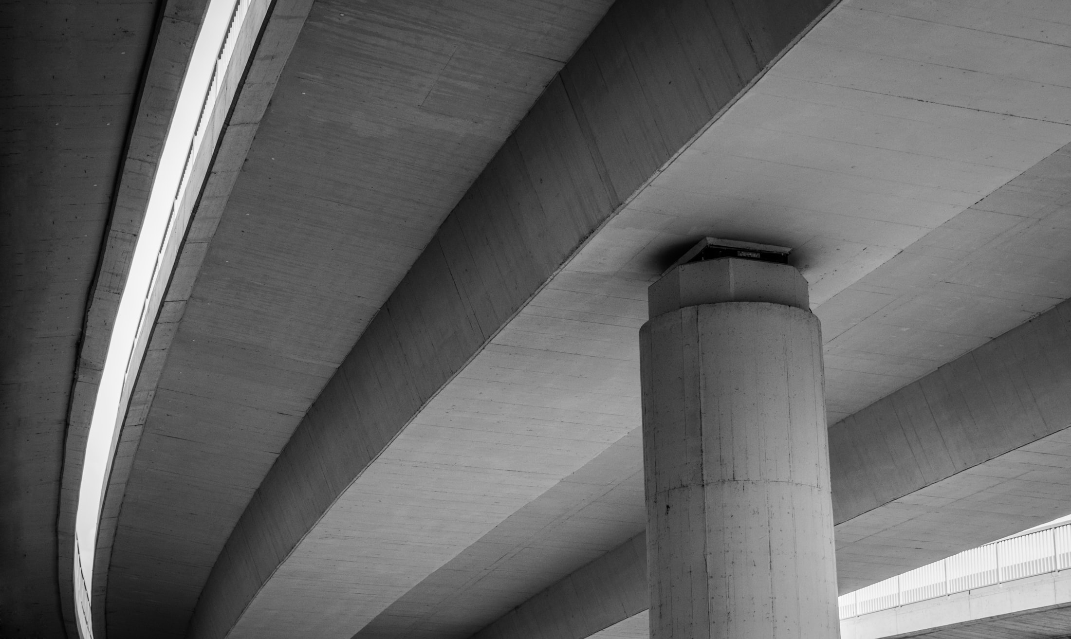Black and white shot of concrete bridge architecture from below, Most na Adi