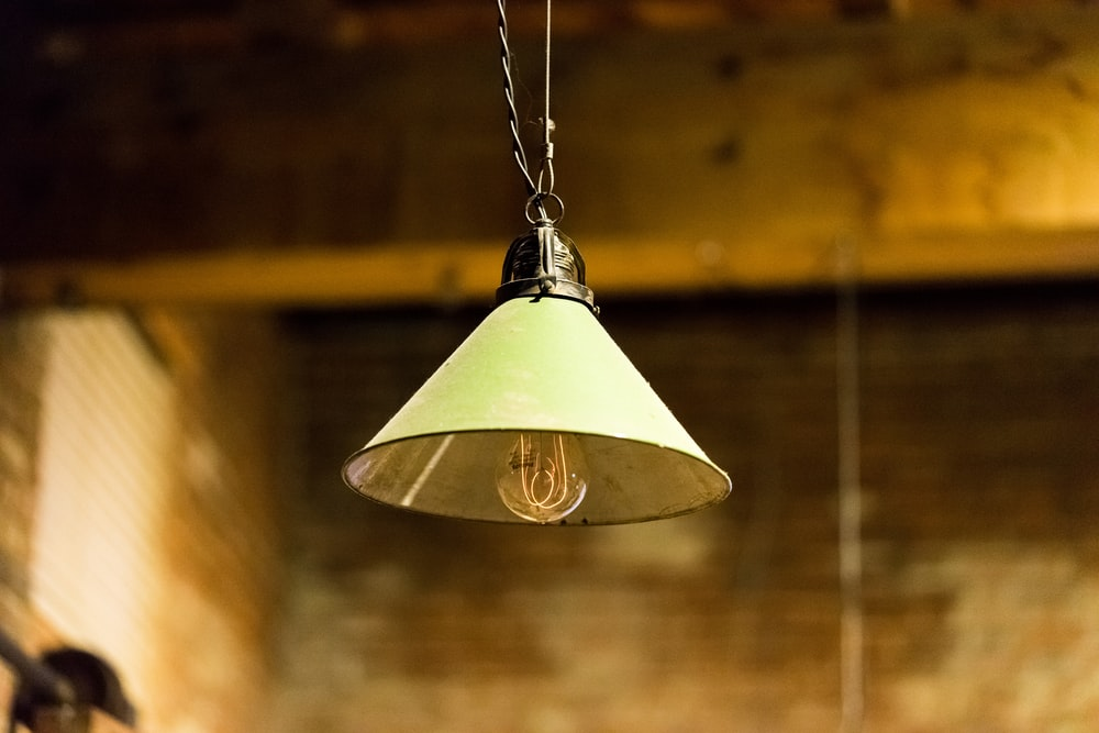 selective photography of gray pendant lamp