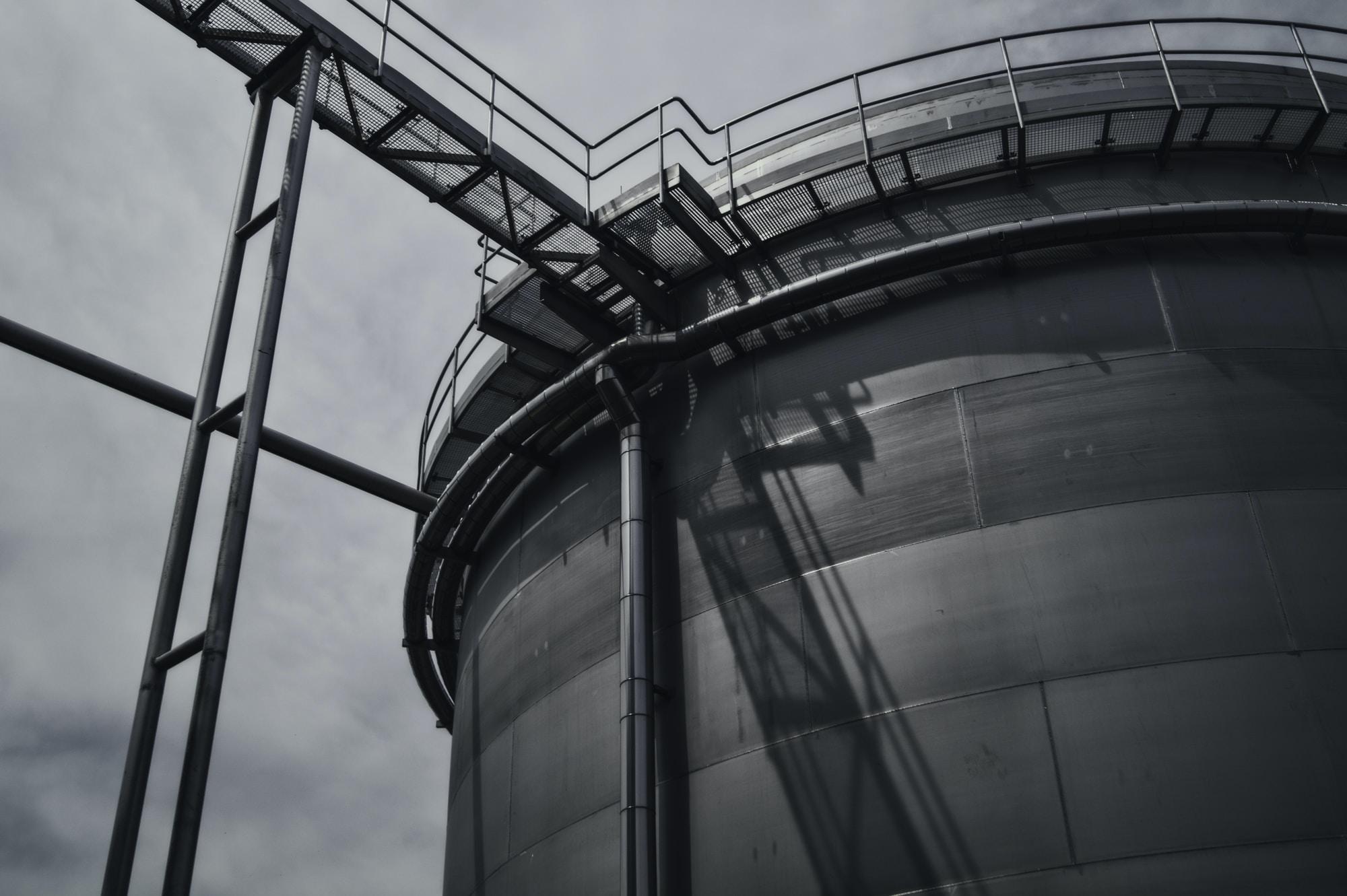 Black and white shot of industrial metal steel tower in Budějovický Budvar, národní podnik
