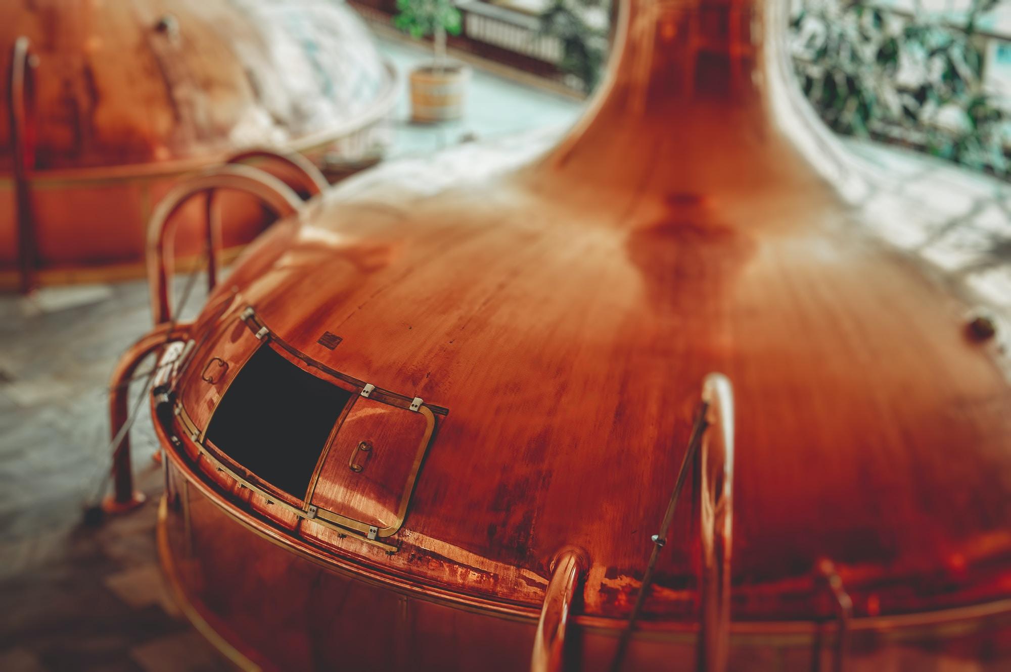 Top view of a copper alcohol distillery in Budějovický Budvar, národní Podsednik