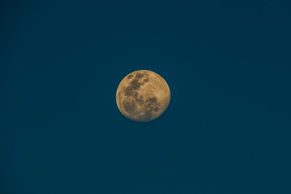 closeup photo of full moon