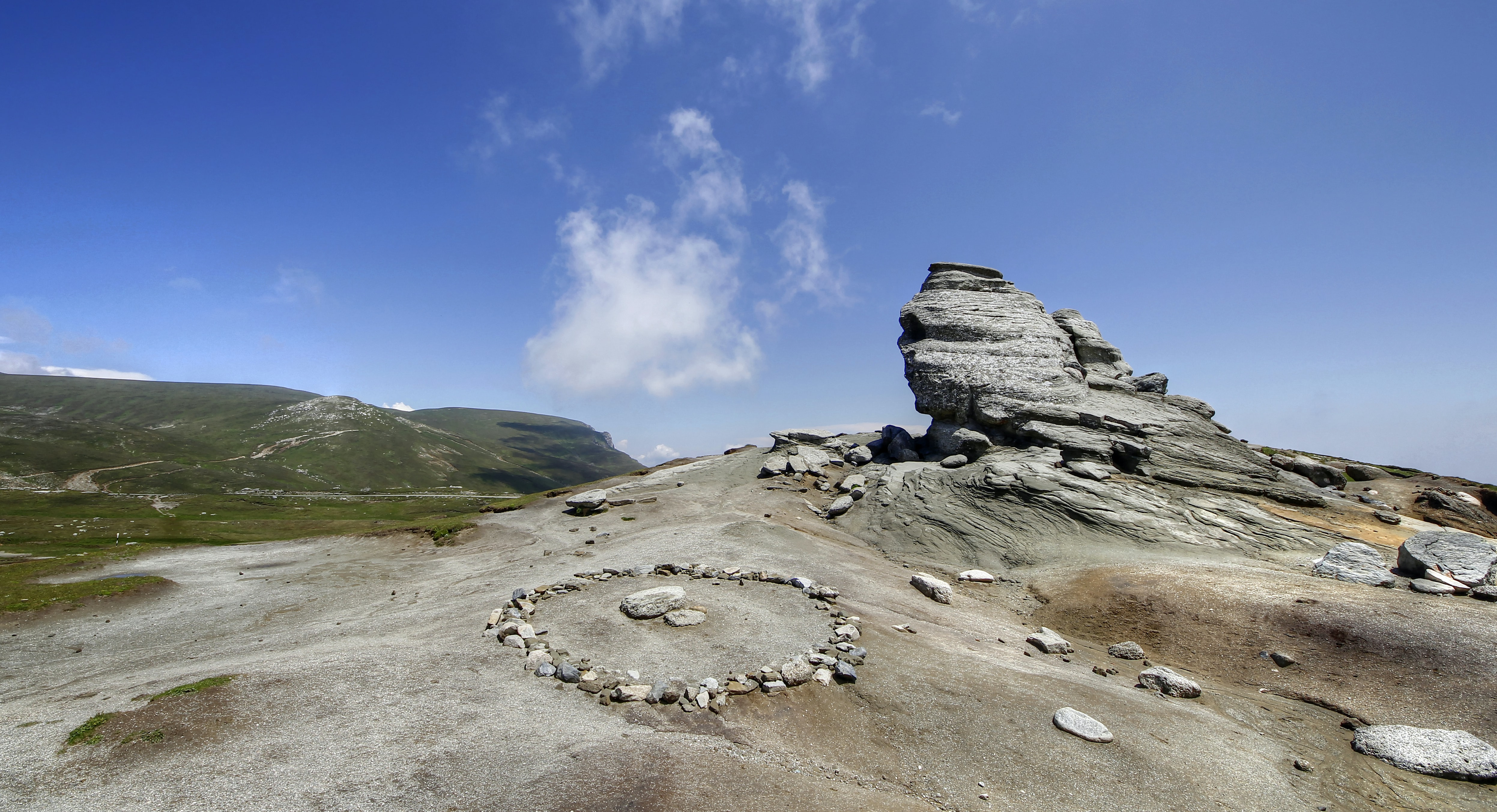 rock formation under the blue skies
