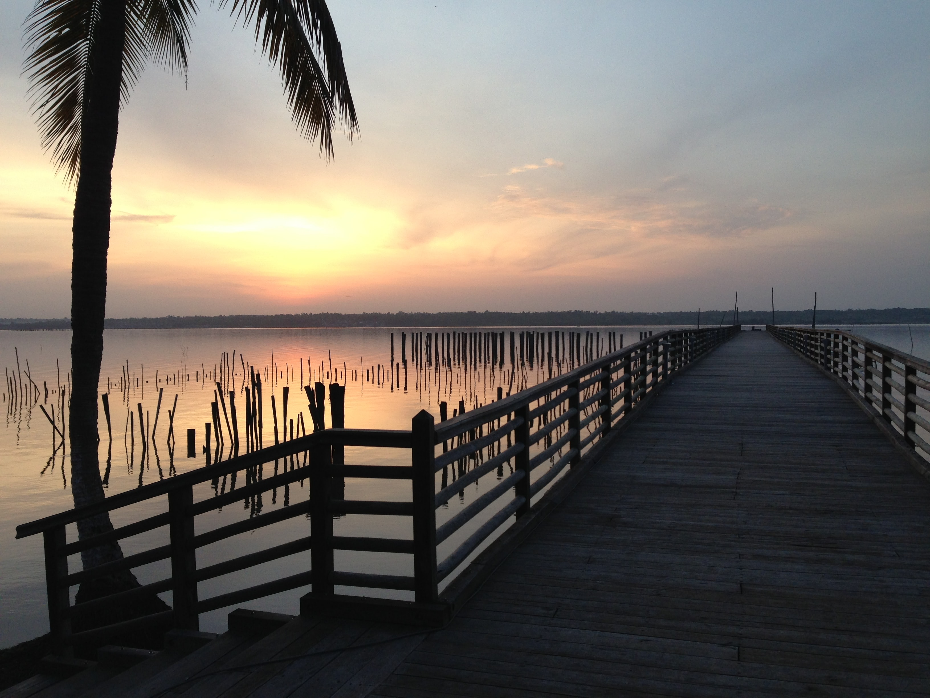 brown bridge on sunrise