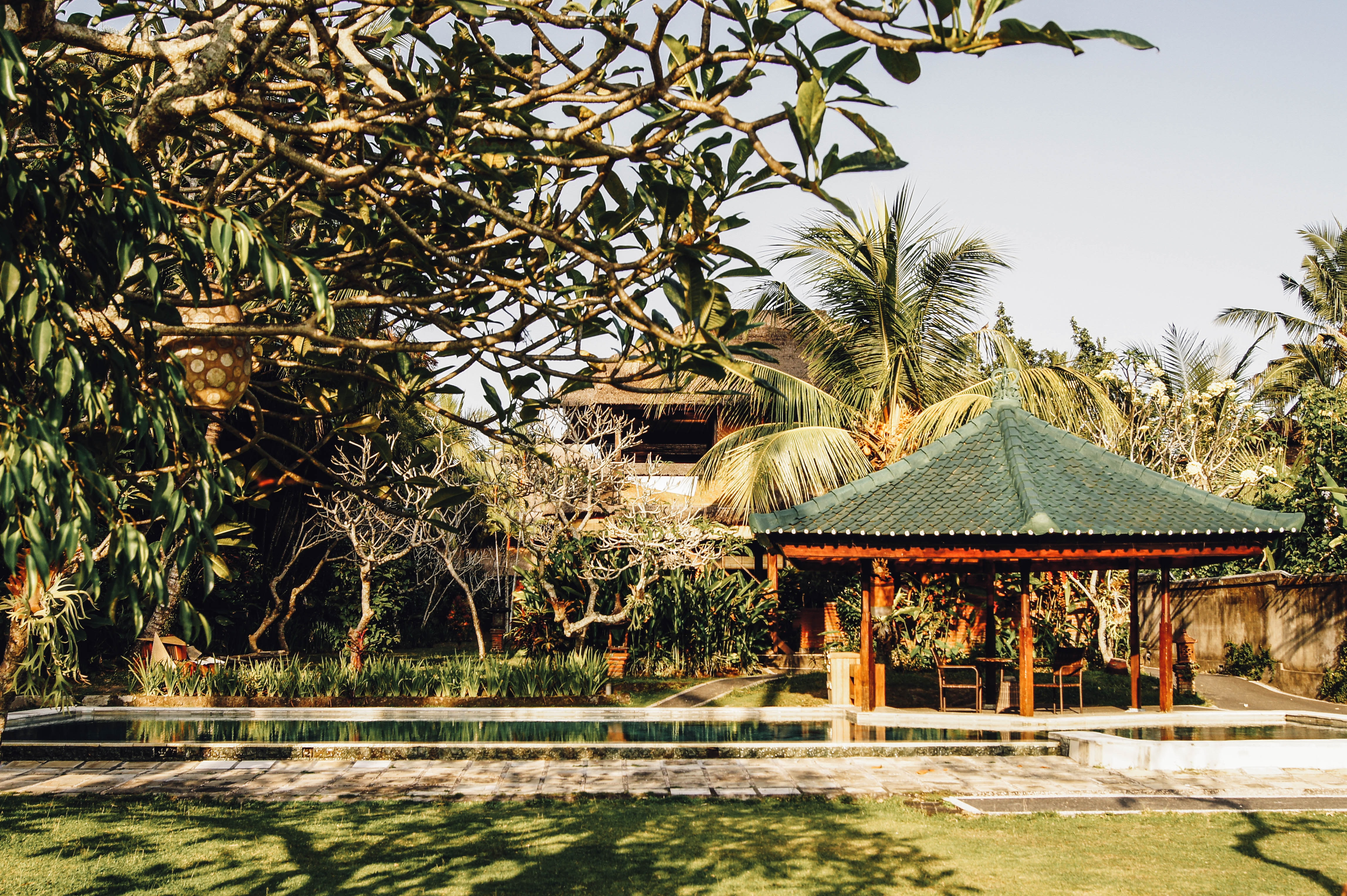brown gazebo beside swimming pool surrounded with trees during daytime