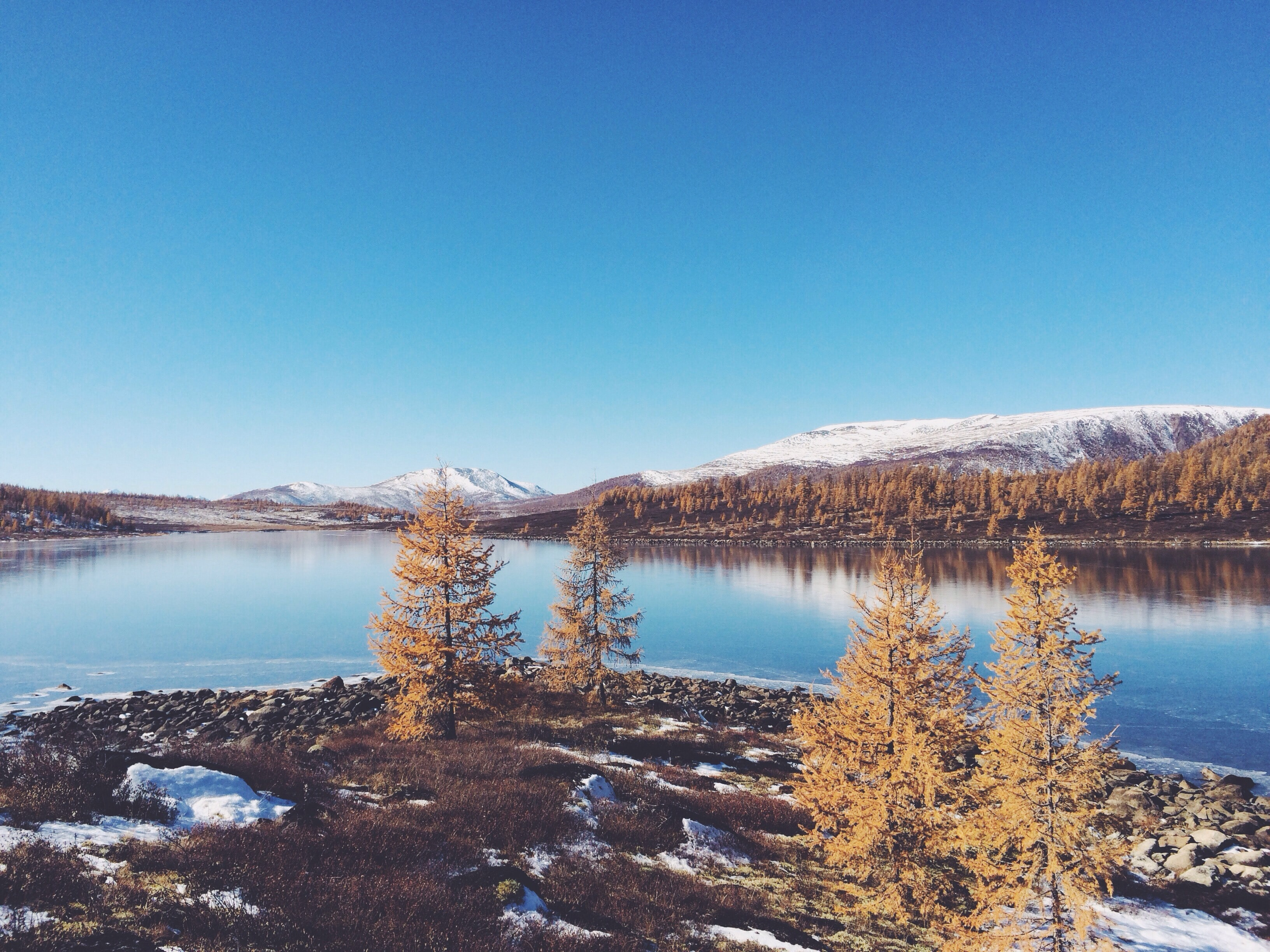 The calm landscape in autumn of trees and snowy mountains across the lake at Buryatia
