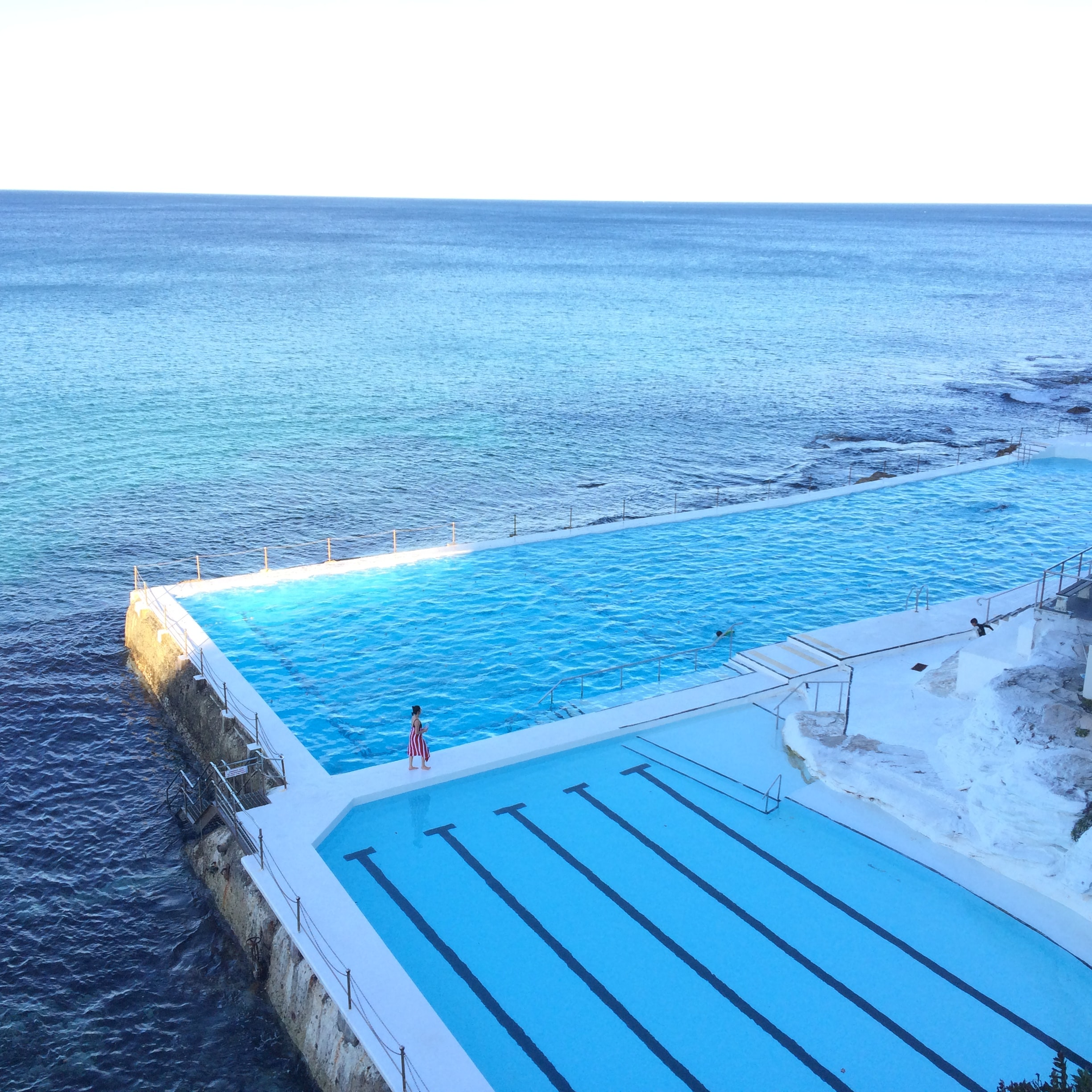 Two swimming pools on the ocean coast at Bondi Beach