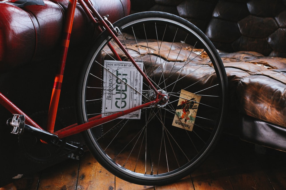 red bike beside sofa