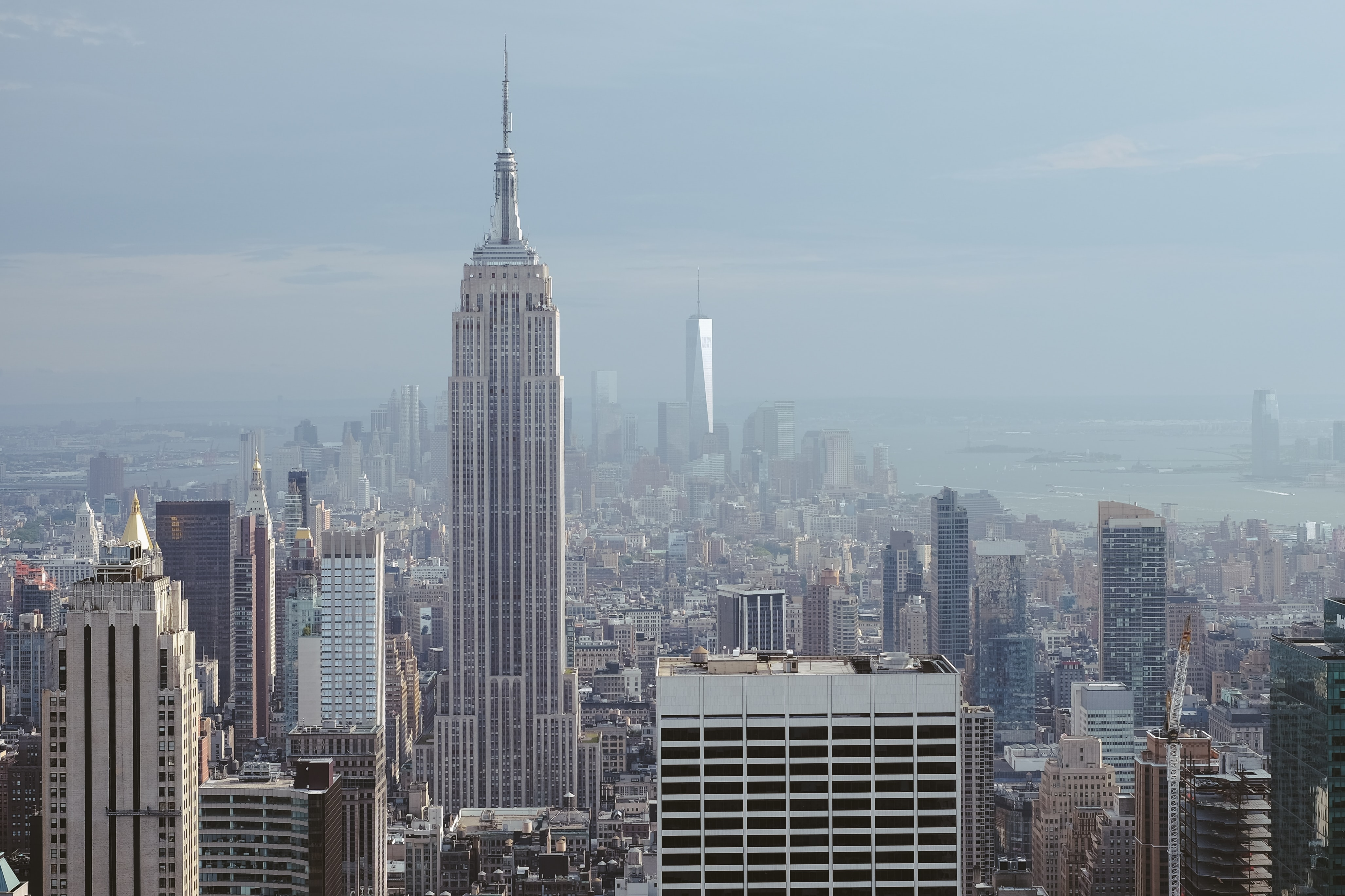 View of the Empire State Building and the Financial District in the distance in New York City