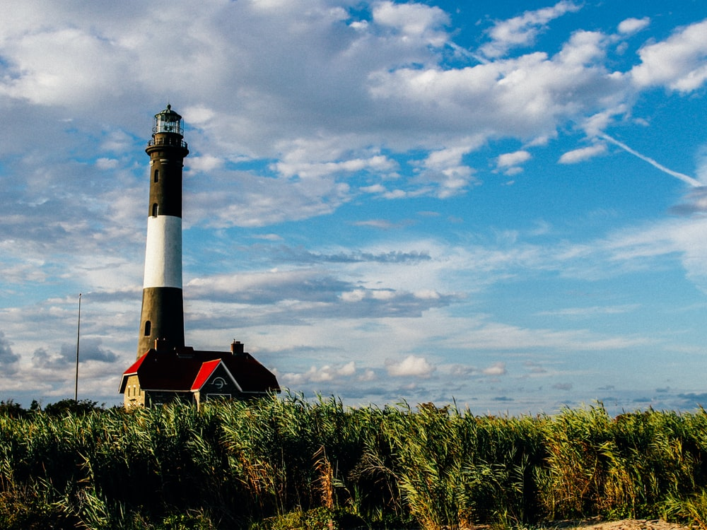white and black lighthouse during daytime