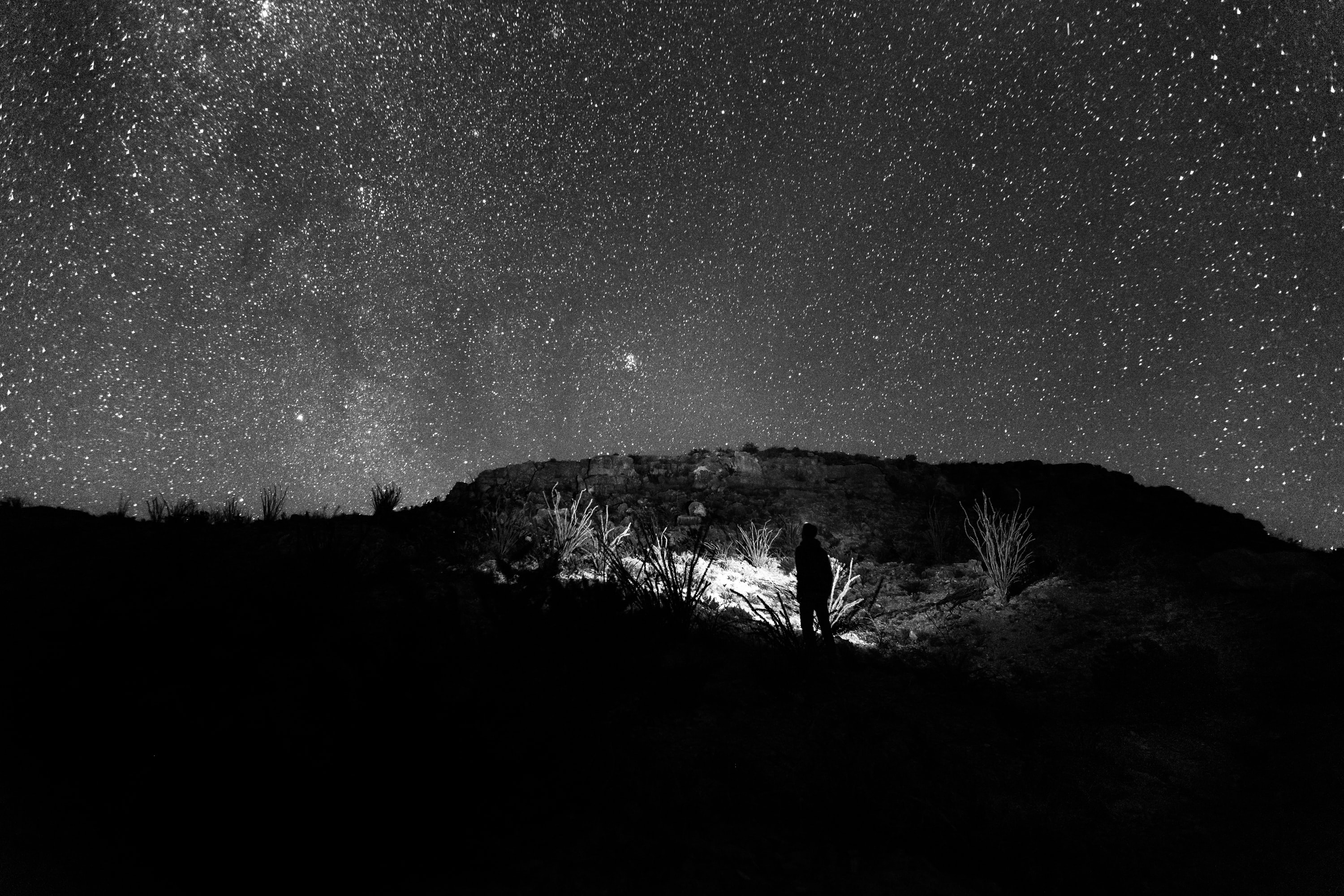 Black and white photo of a man looking at stars at Big Bend National Park