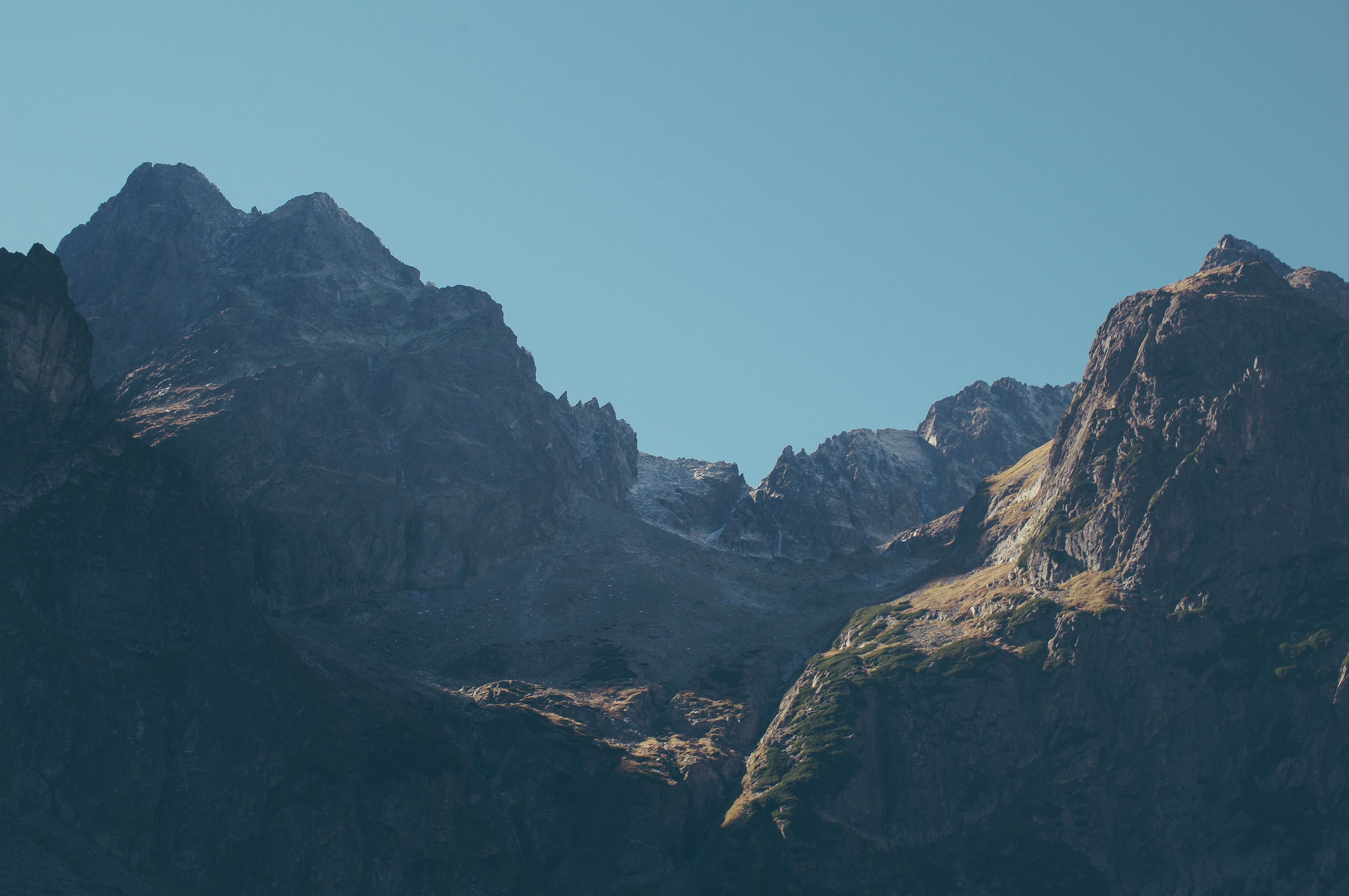Sharp craggy ridges under a blue sky in the Tatra Mountains