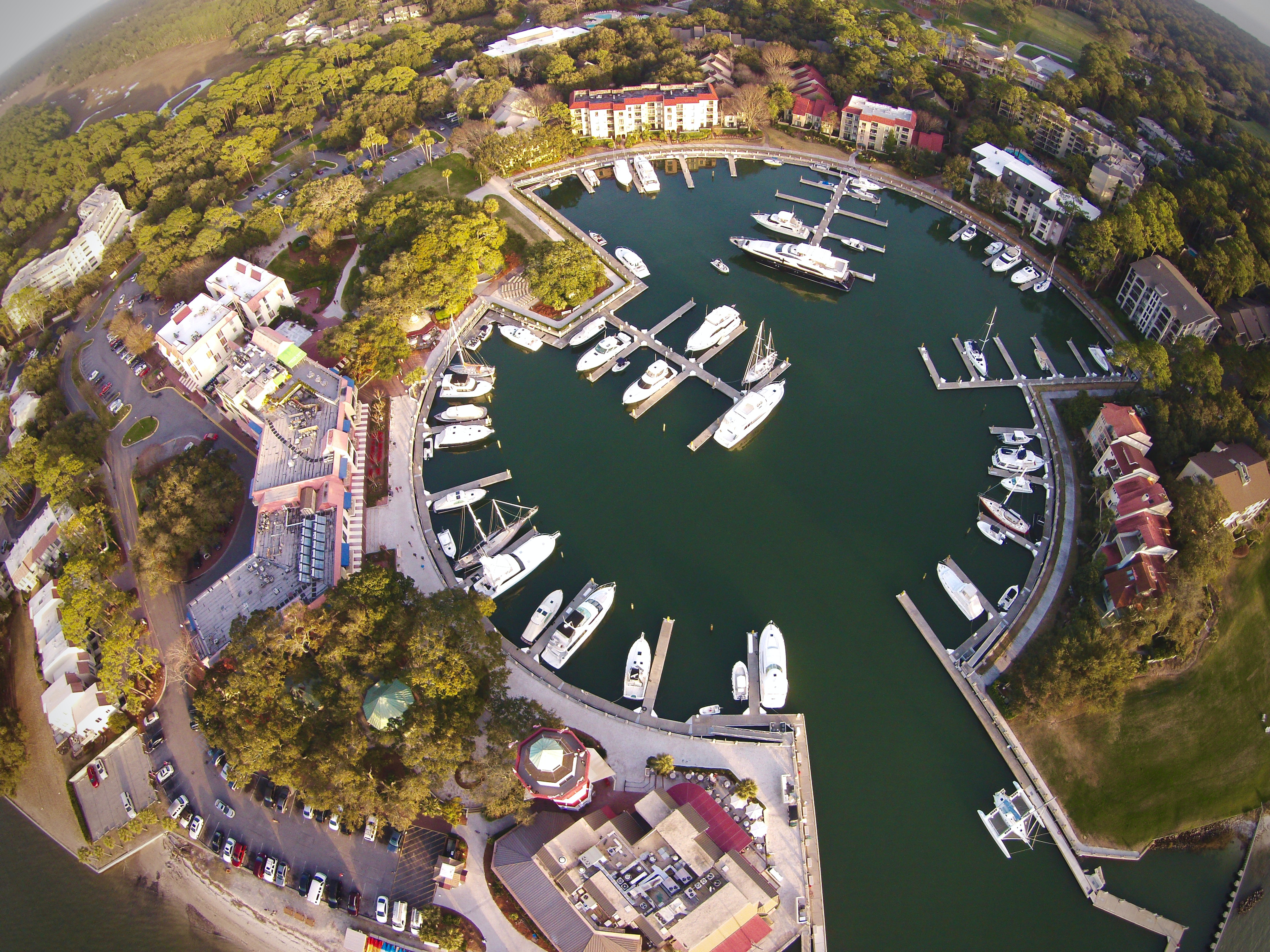 An overhead shot of the marina, yachts and the resort at Harbour Town Golf Links.