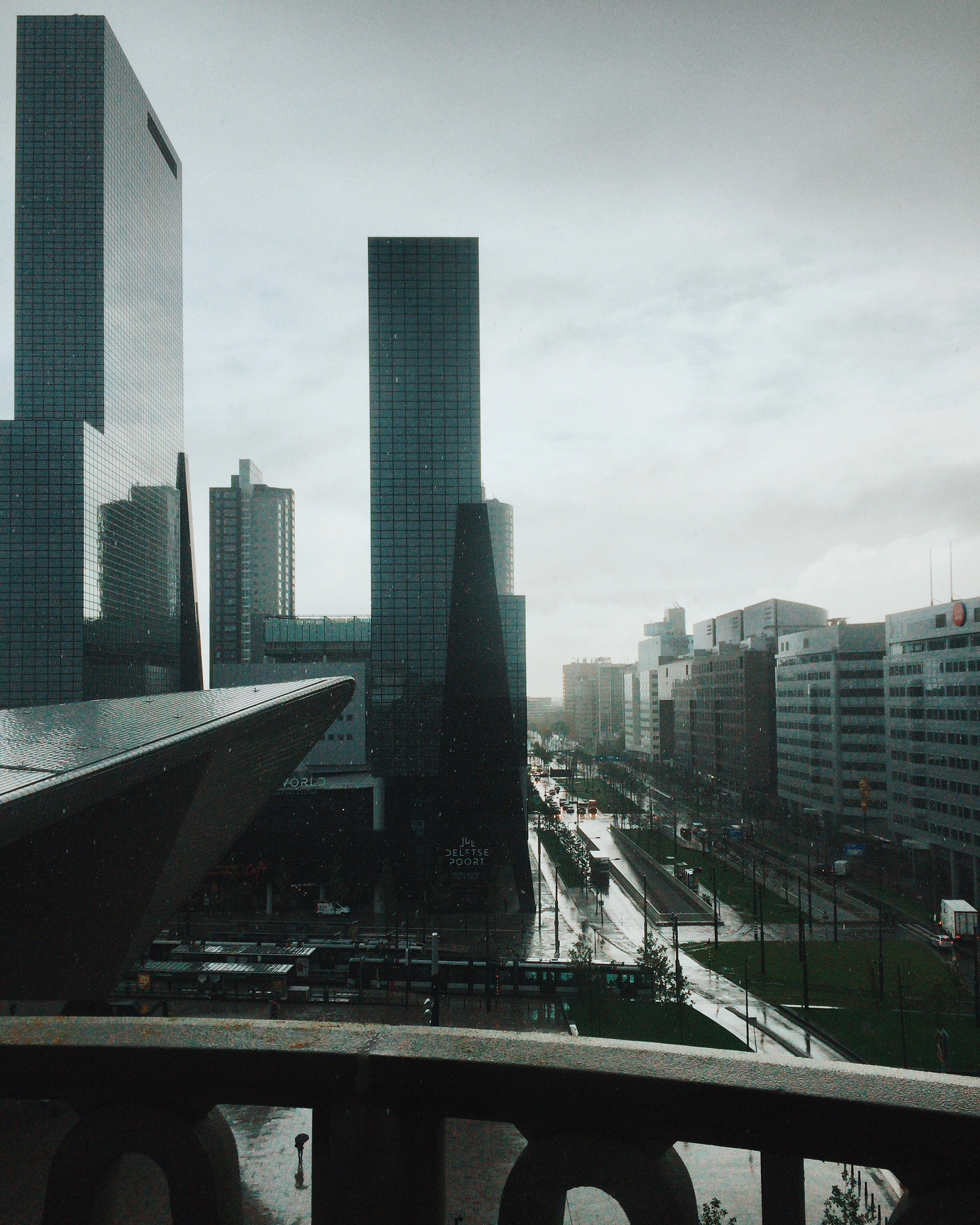 The business district in Rotterdam on a rainy day