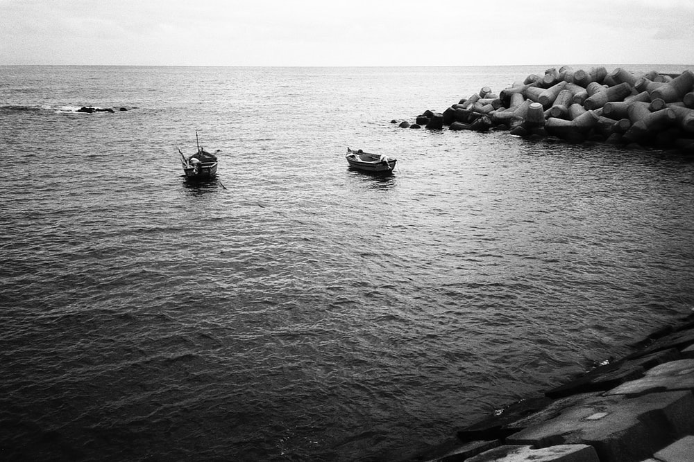 grayscale photo of two paddle boats near shore