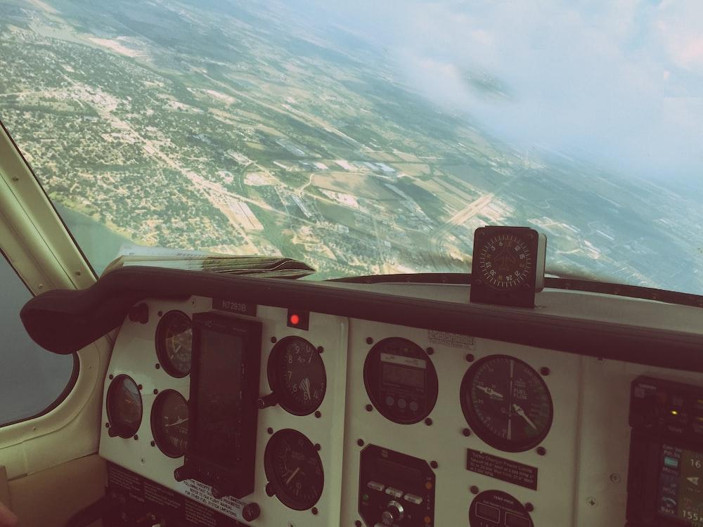 white and black airplane dashboard