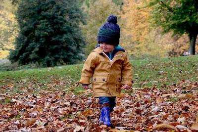 boy wearing orange bubble jacket walking on dry fallen leaves on ground kid teams background