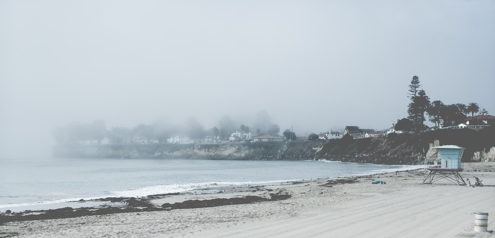 sea shore and sea waves near town
