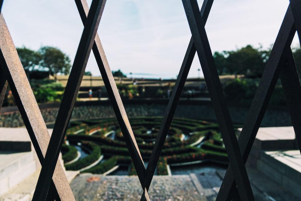 black wood gate