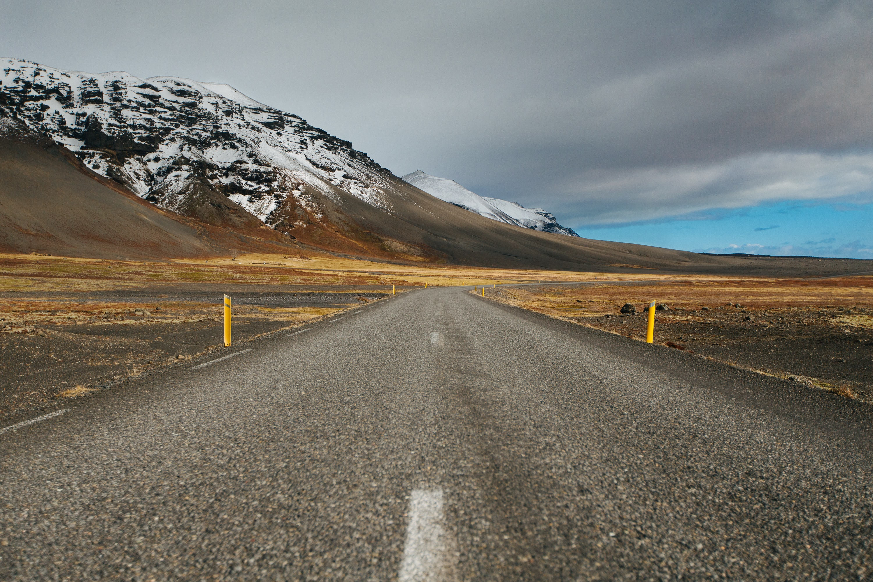 A mountainside road in Iceland