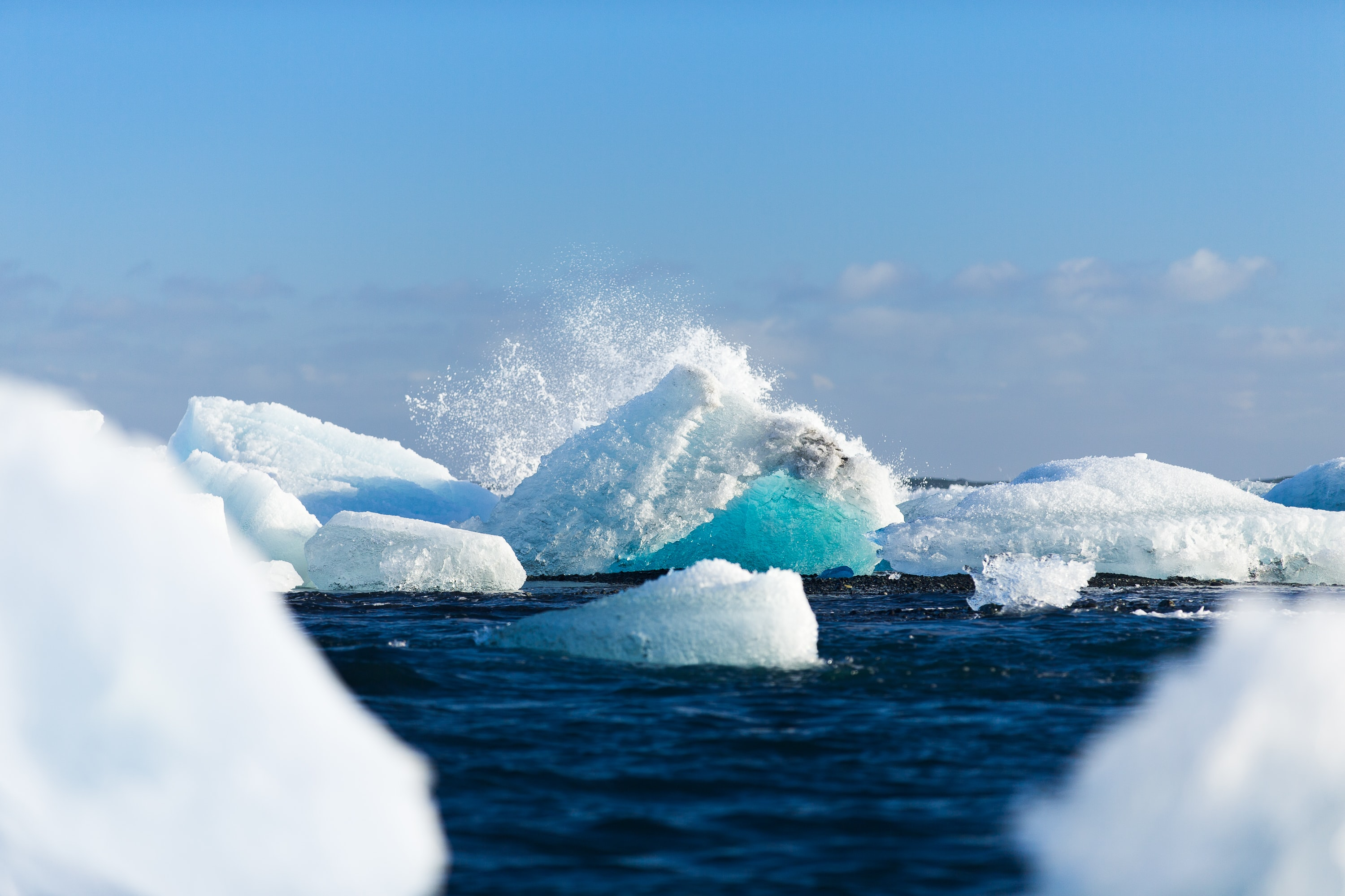 The icebergs of Iceland's Vatnajokull intermingle among the ocean