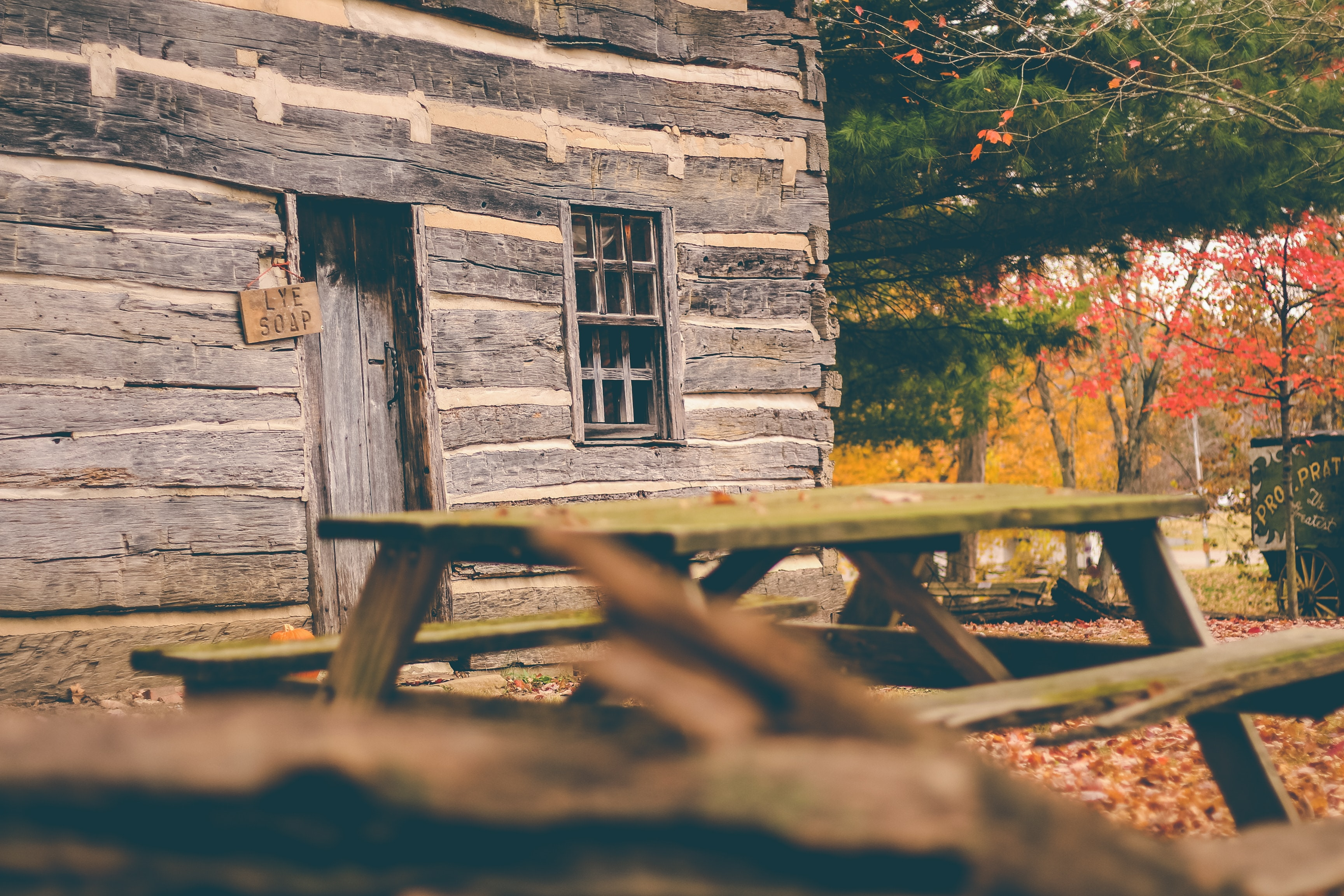 picnic table near wooden house