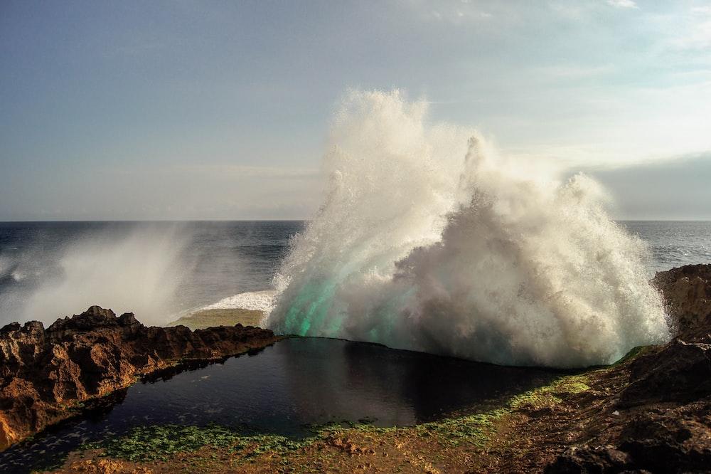 body of tidal wave near shore