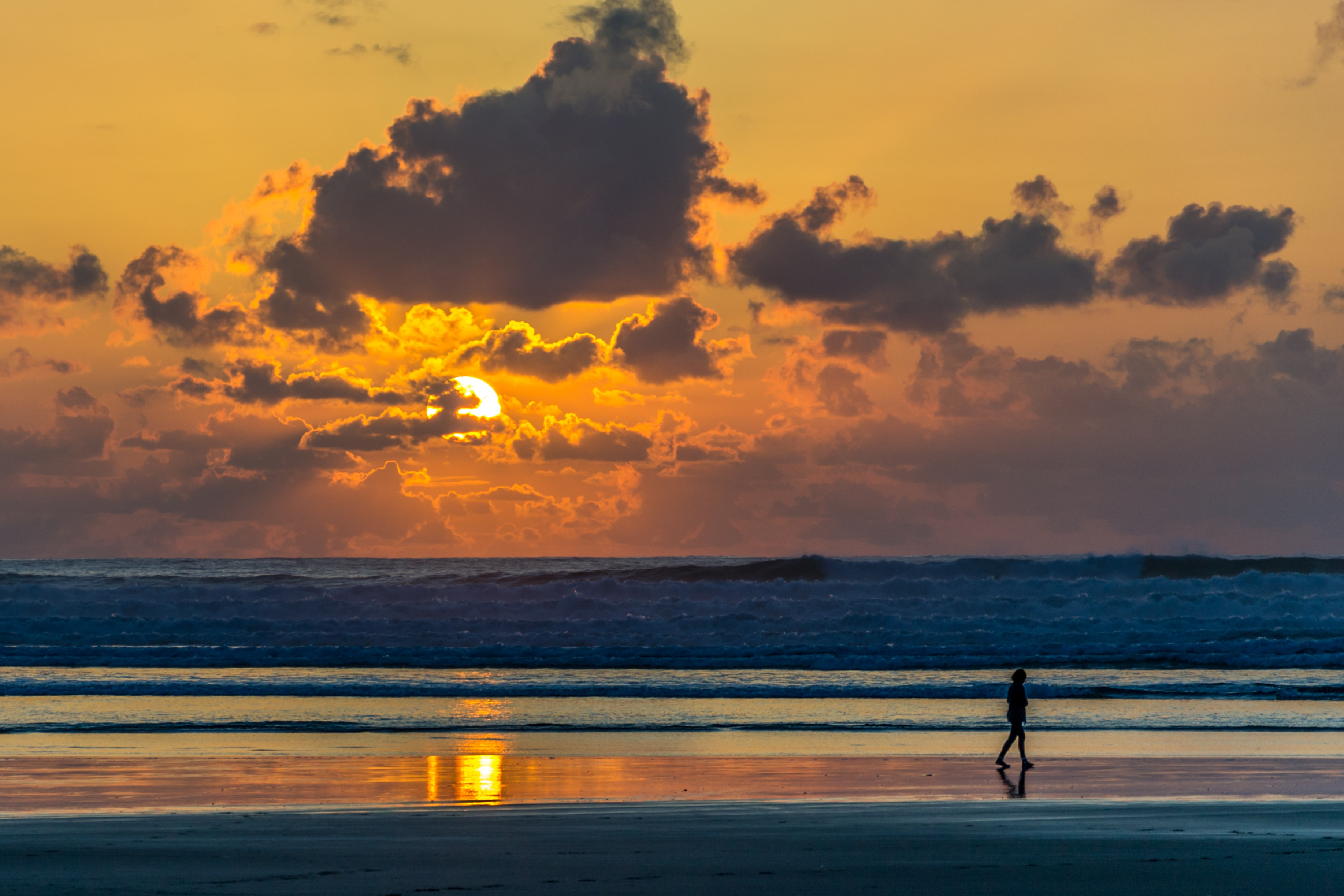 person on beach shore during sunset