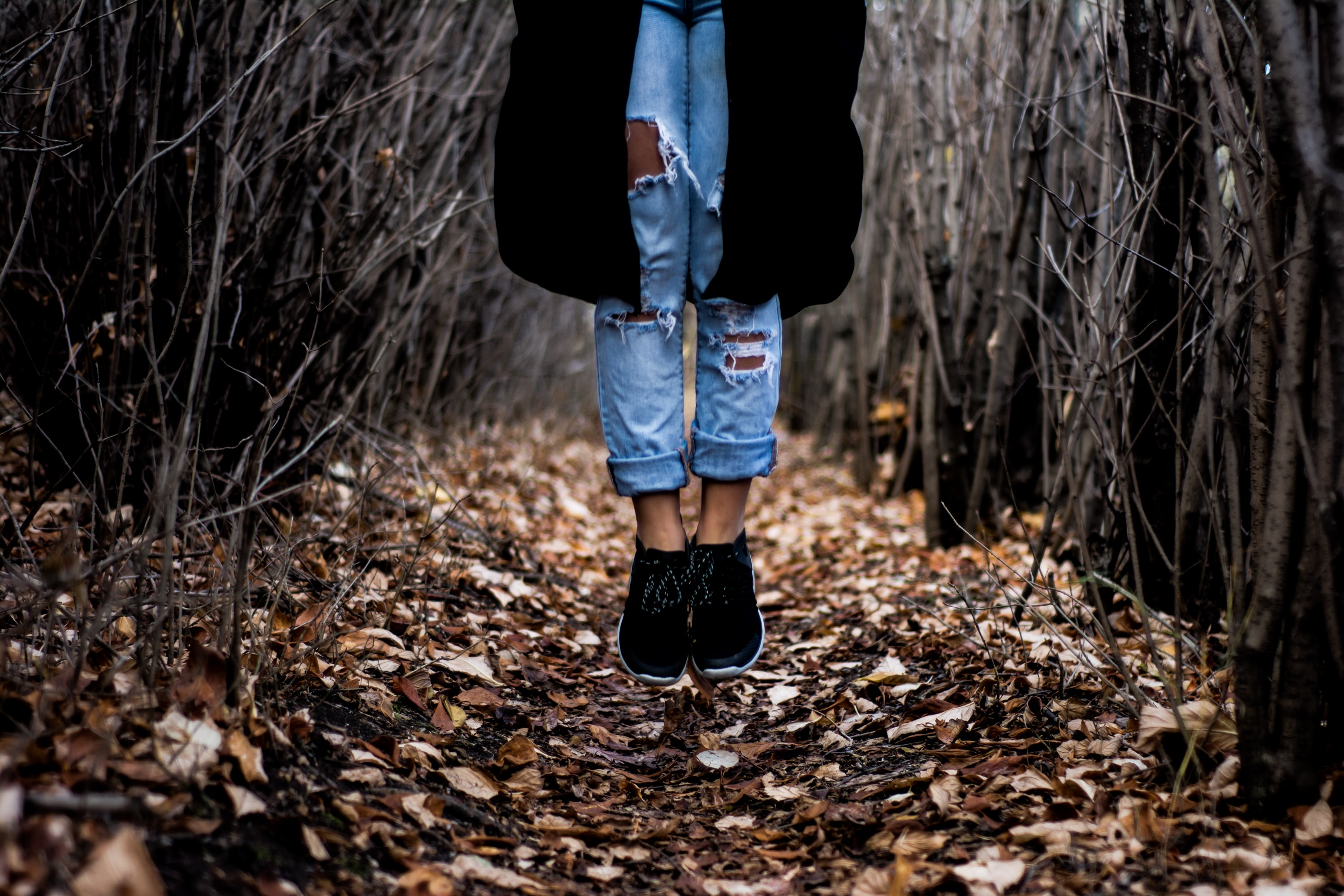 A person in ripped jeans jumping up on a carpet of autumn leaves in a thicket