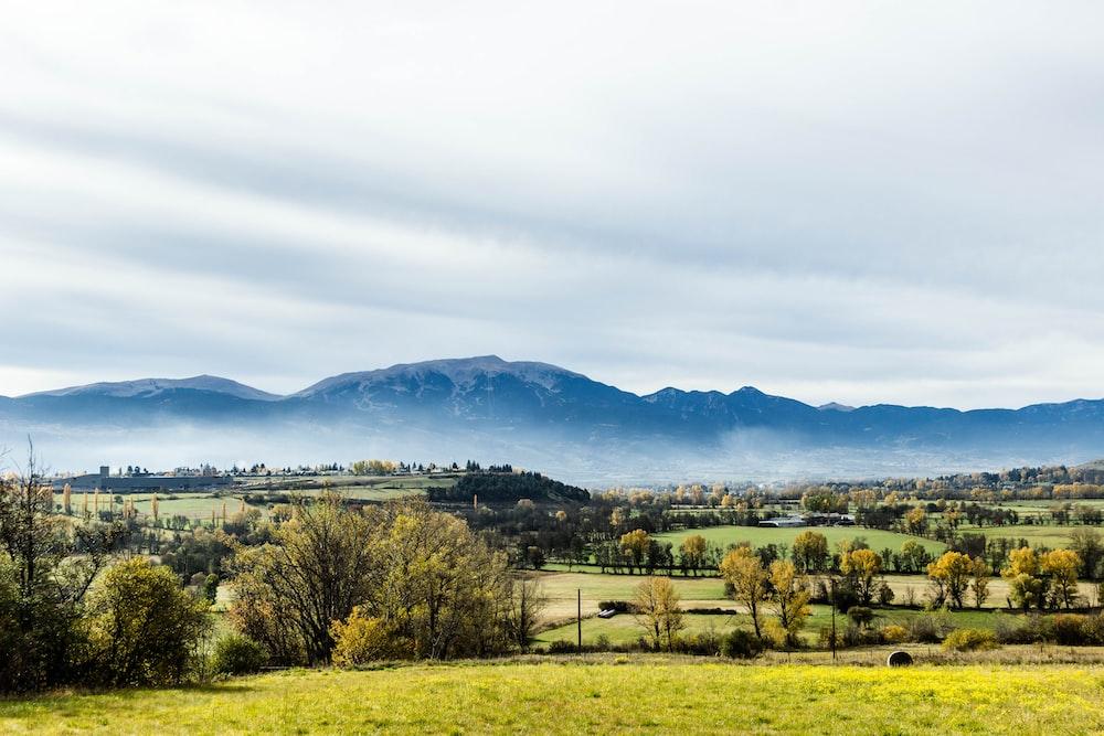 mountain in-front farm