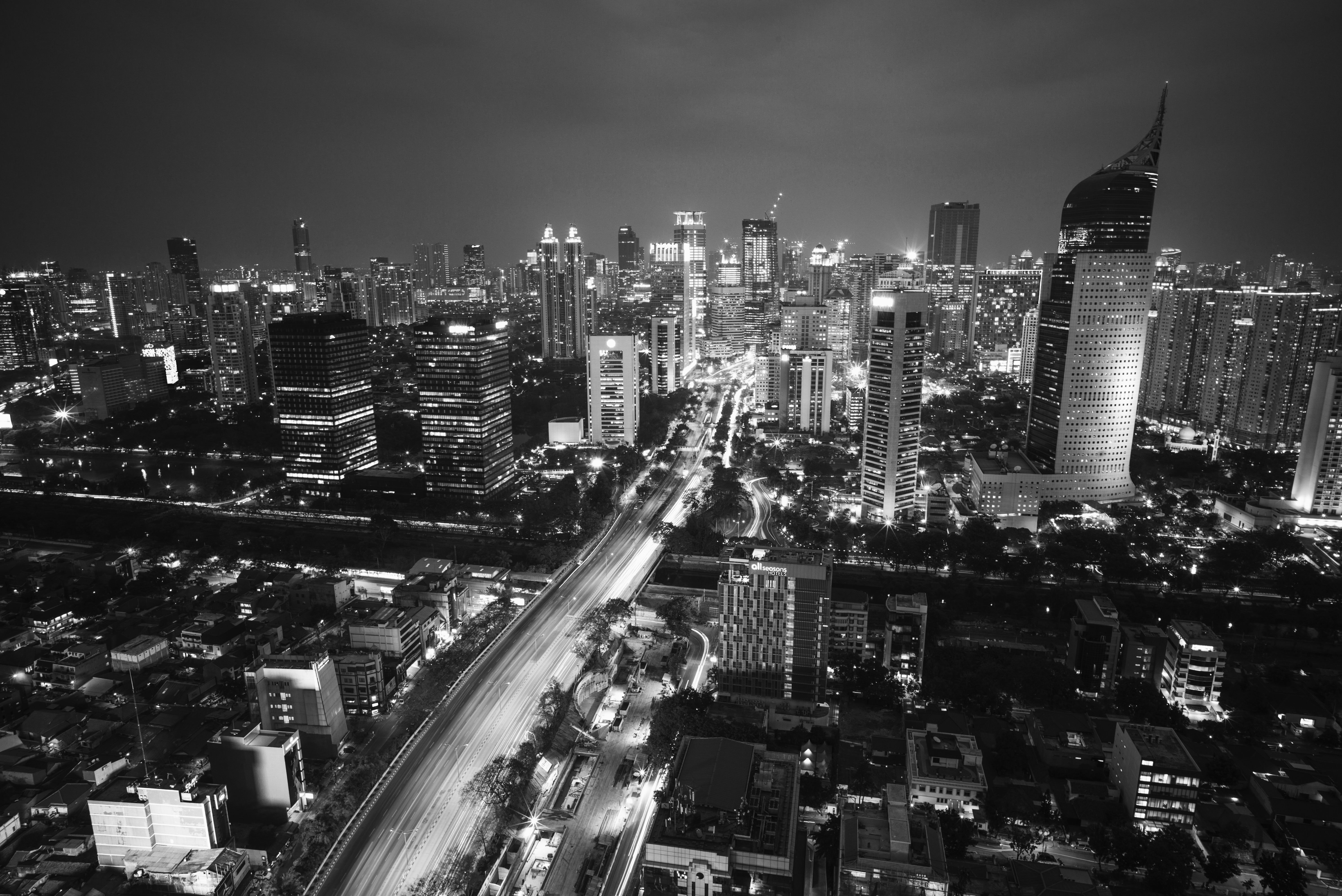 A black-and-white shot of downtown Jakarta