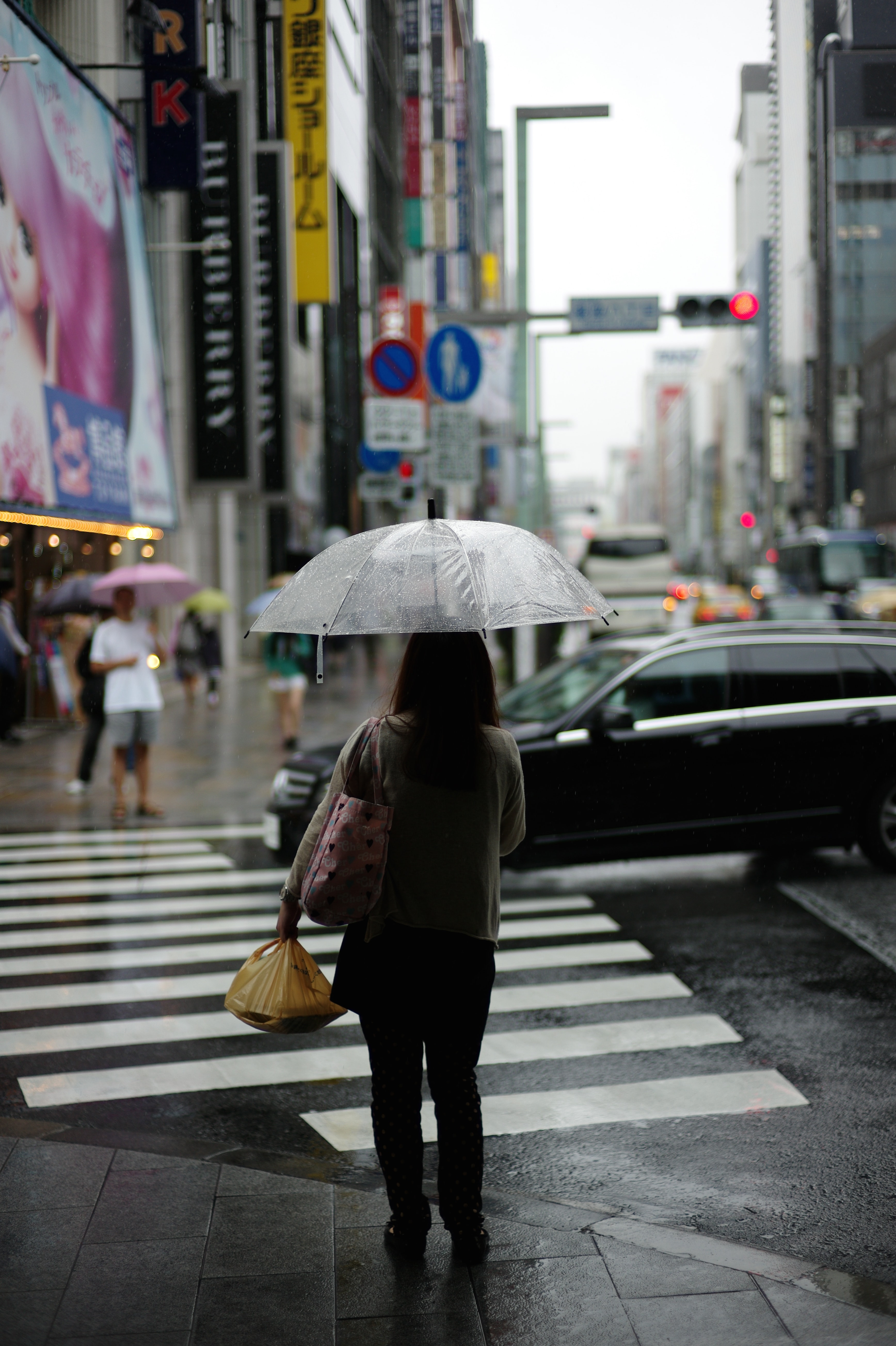 A person holding a clear umbrella waits on the sidewalk to cross a city street