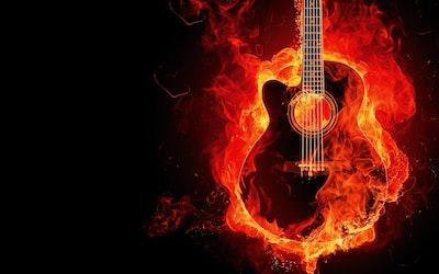 flaming guitar digital wallpaper guitar zoom background