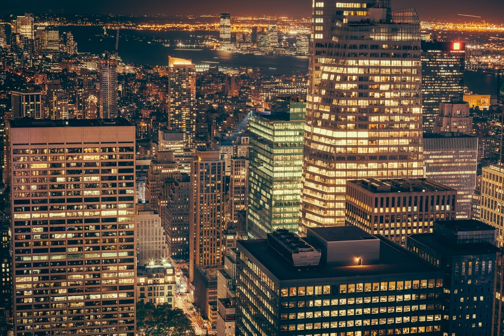 birds eye view of city lights during nighttime