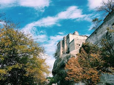 photo of gray stone castle near trees